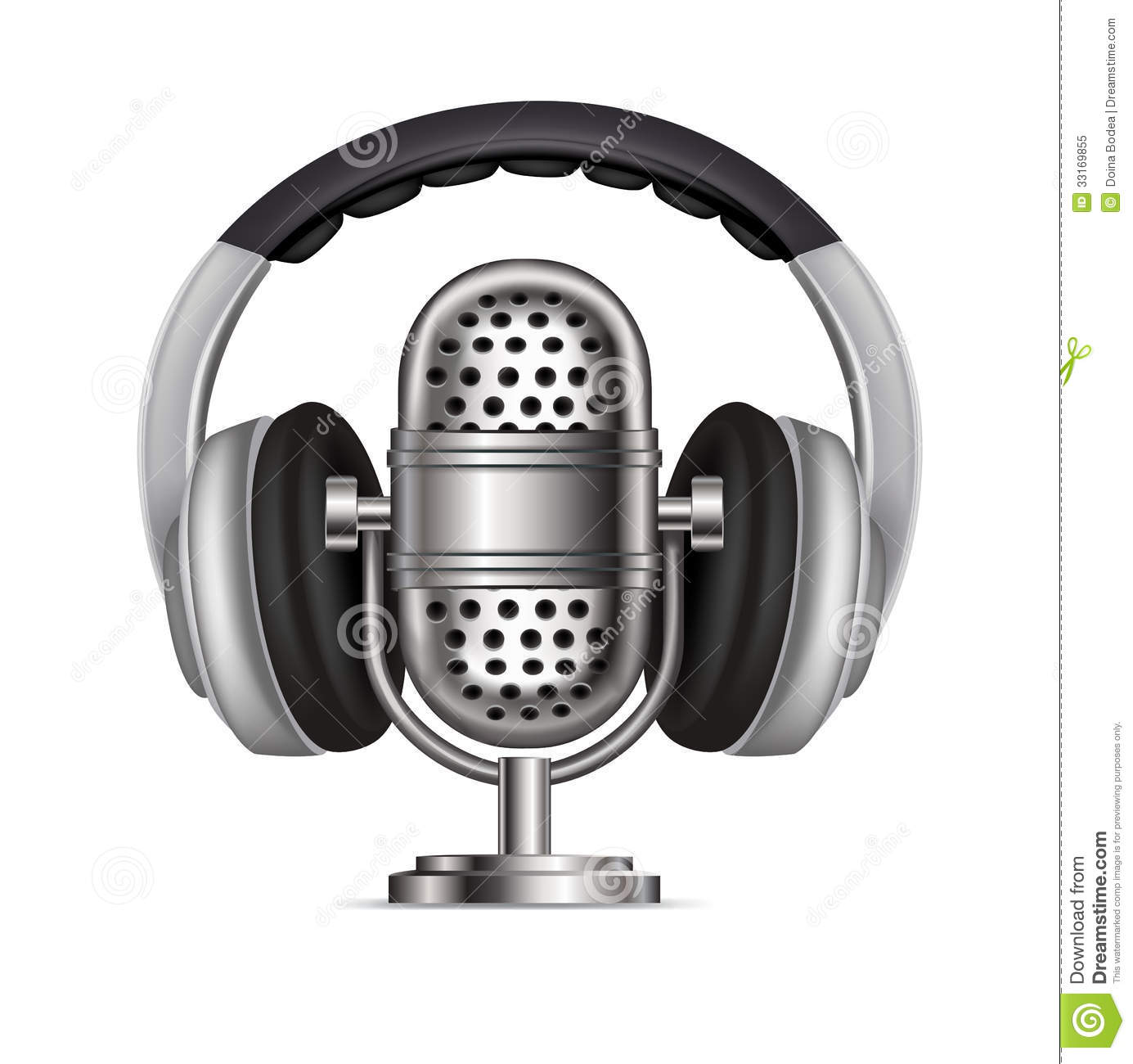 Headphones And Radio Microphone Isolated Royalty Free Stock Photo Image 33169855