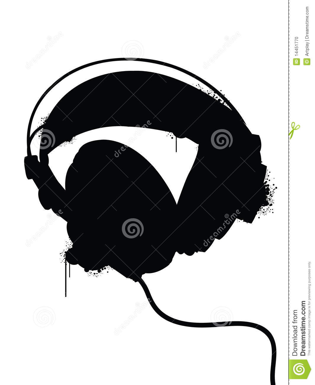 Headphones Silhouette Stock Photo - Image: 14451770