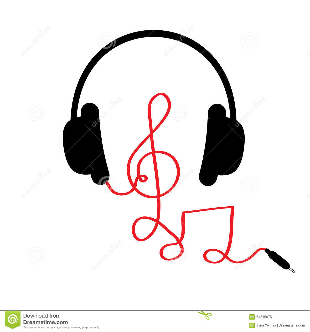 Headphones With Treble Clef Note Red Cord And Word Music
