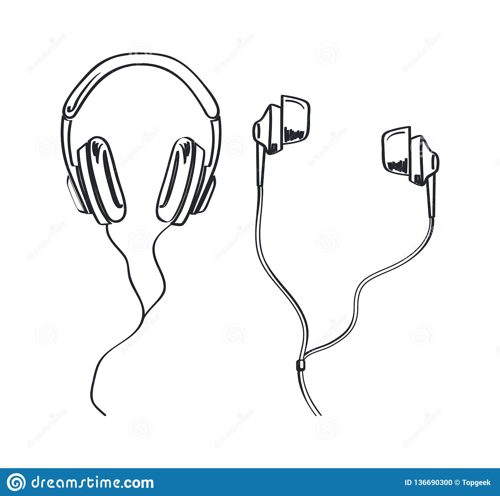 Headphones types earphones kinds monochrome sketches outline vector line art headset with cable and adjustable headband listening music device accessory