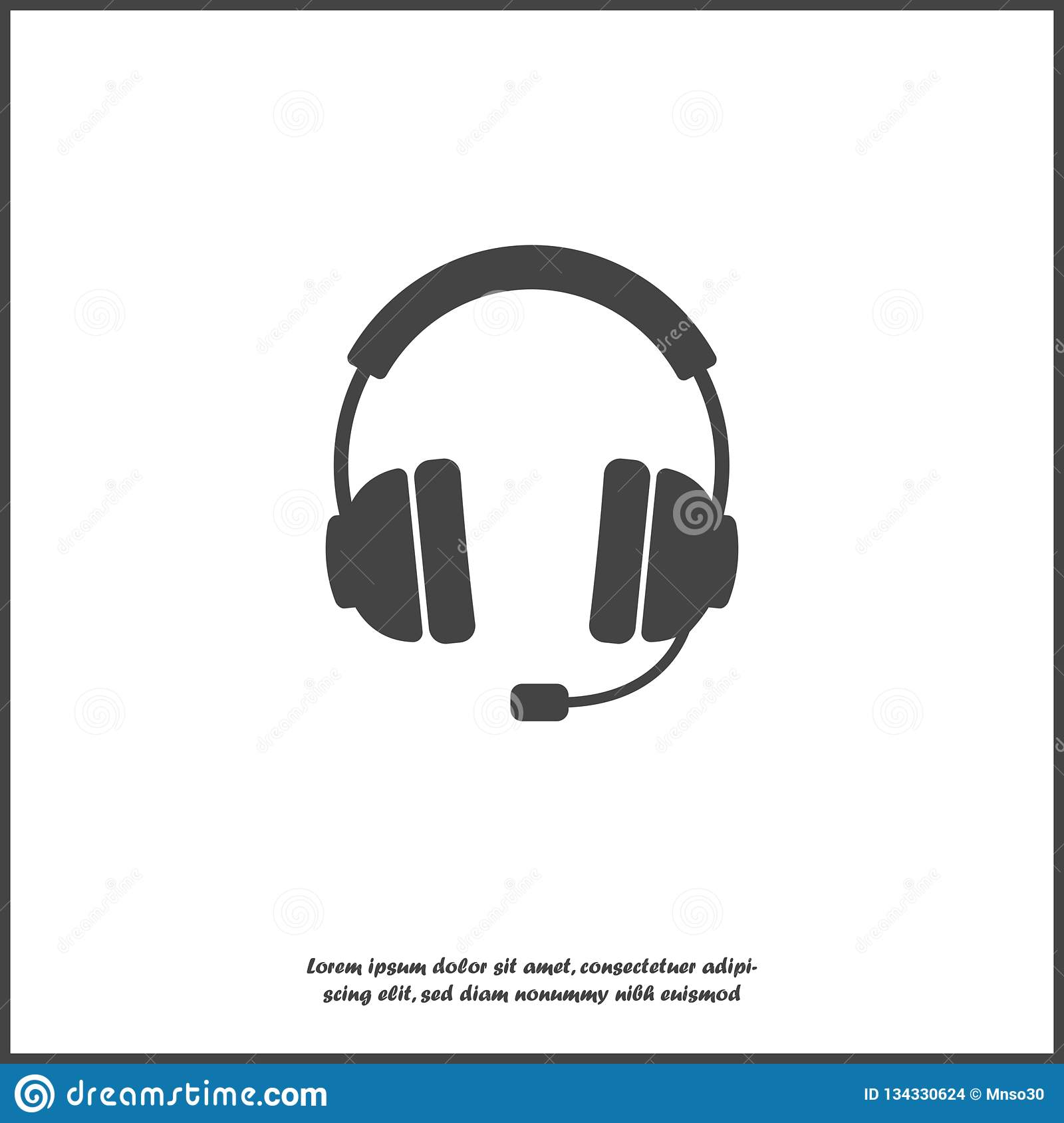 Headphones Vector Icon Flat Headphones Icon On White Isolated Background Layers Grouped For Easy Editing Illustration For Your Stock Vector Illustration Of Illustration Audio 134330624