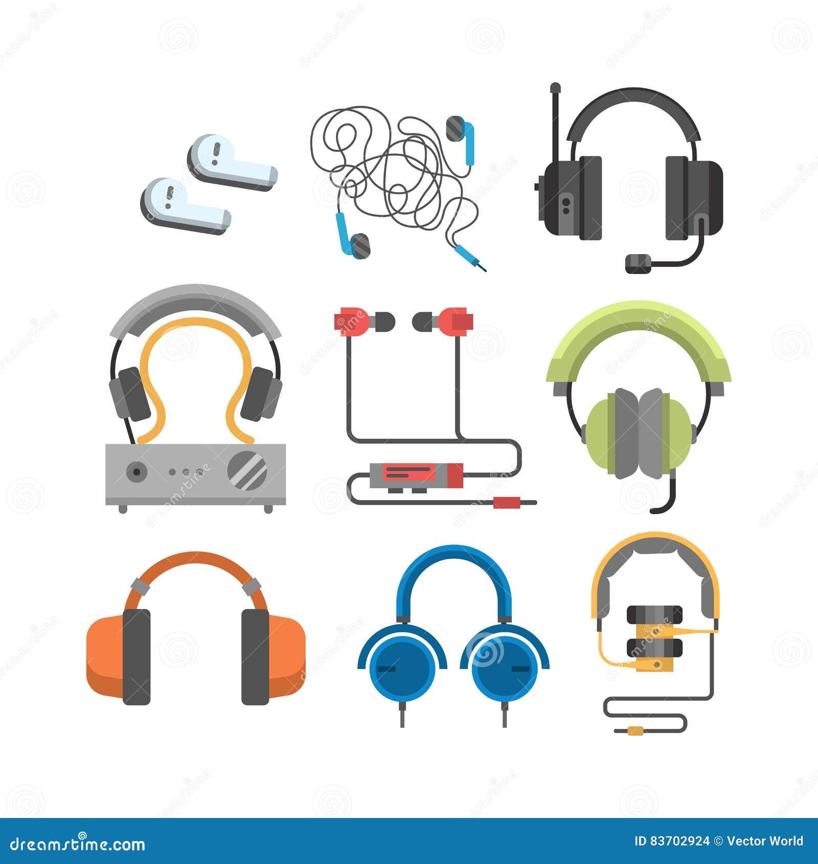 Headphones Vector Set. Stock Vector