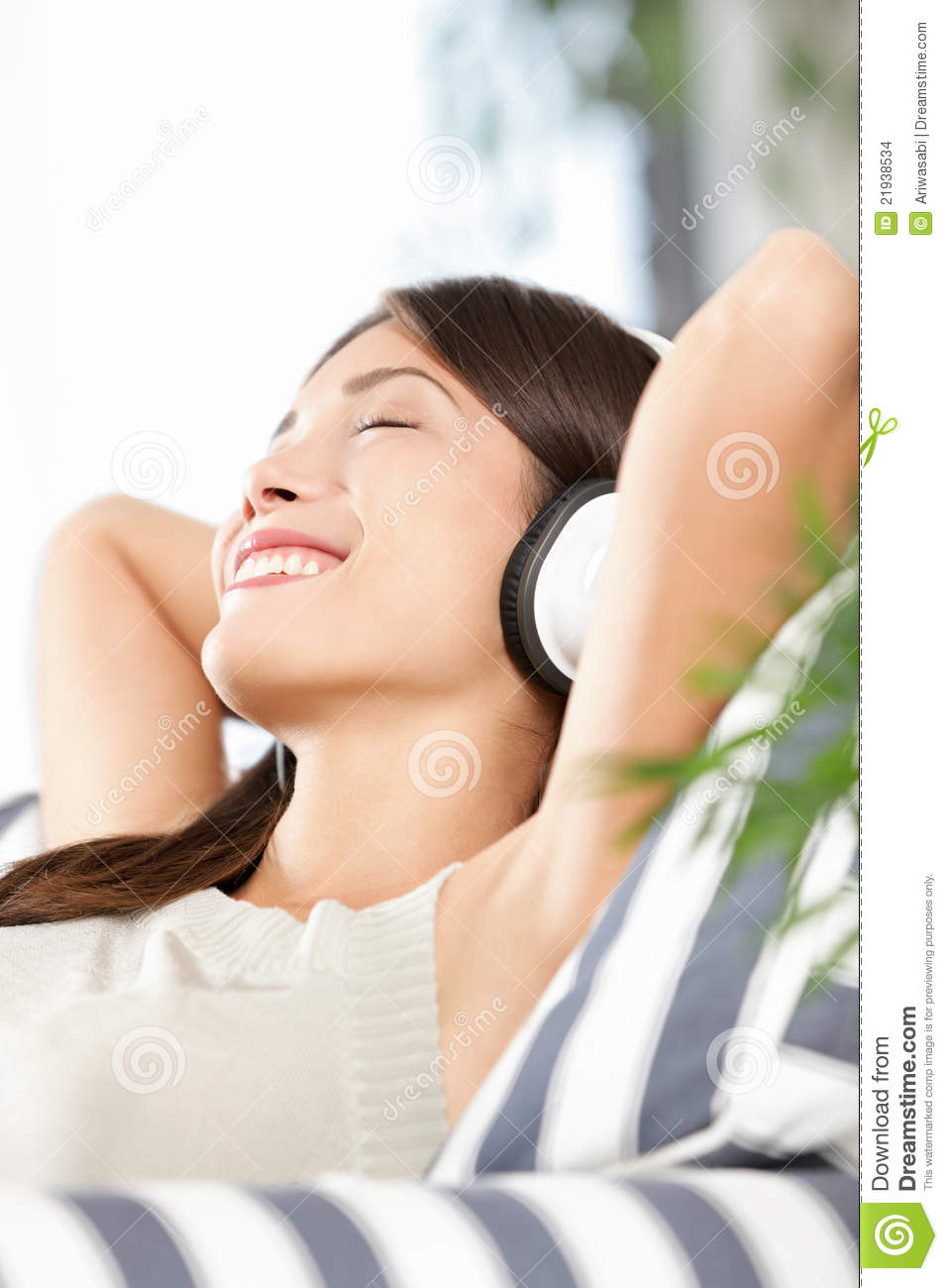 Headphones Woman Listening To Music Stock Images - Image ...