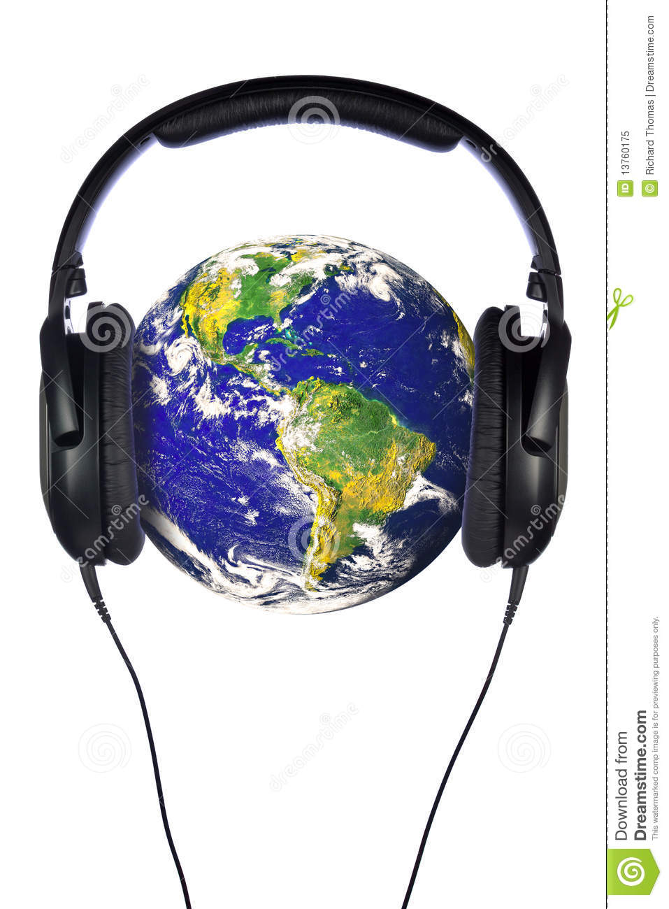 Headphones On The World Stock Image. Image Of Musical