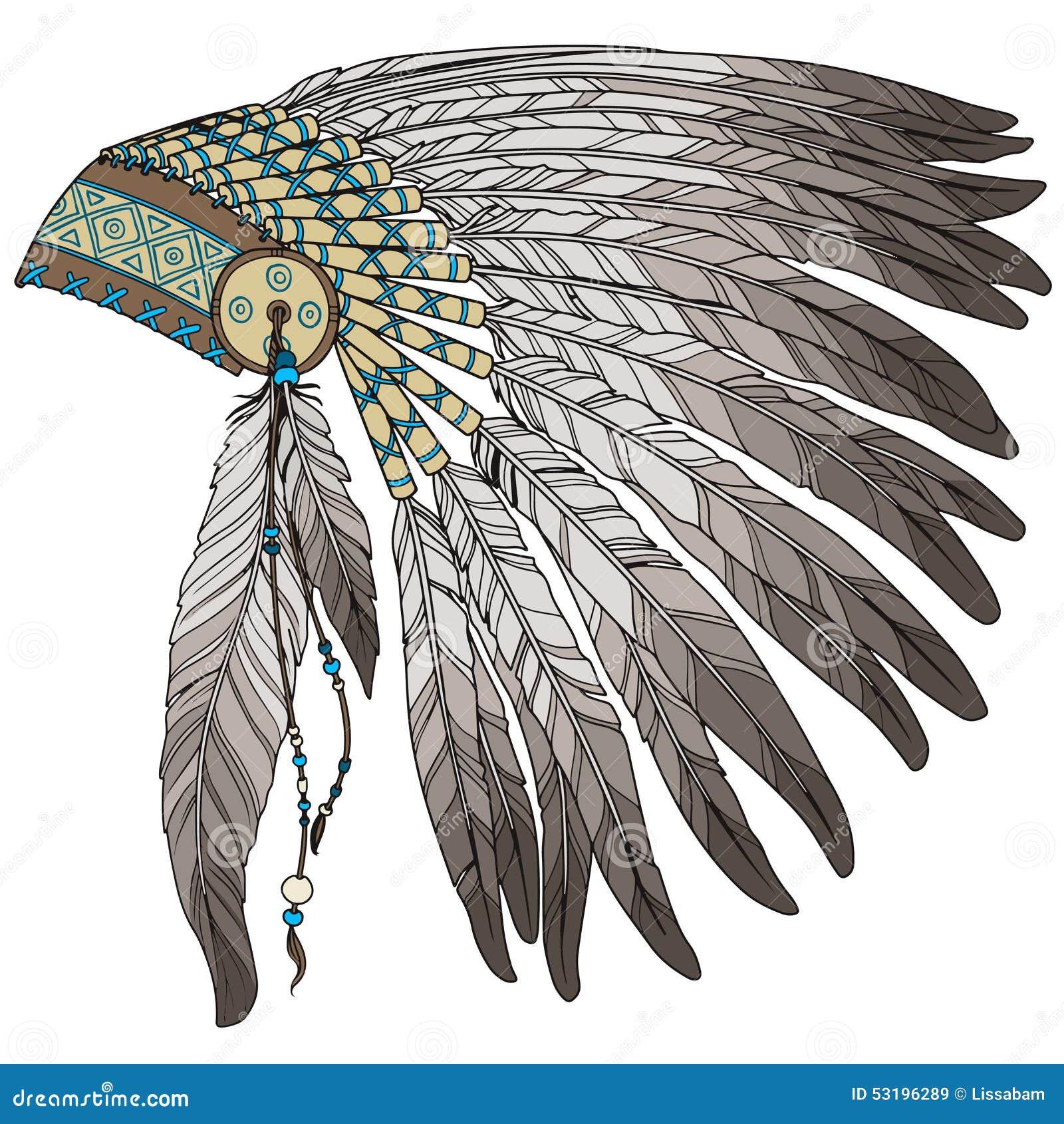 Día De La Acción De Gracias Plumas Indias Ilustración del Vector ...