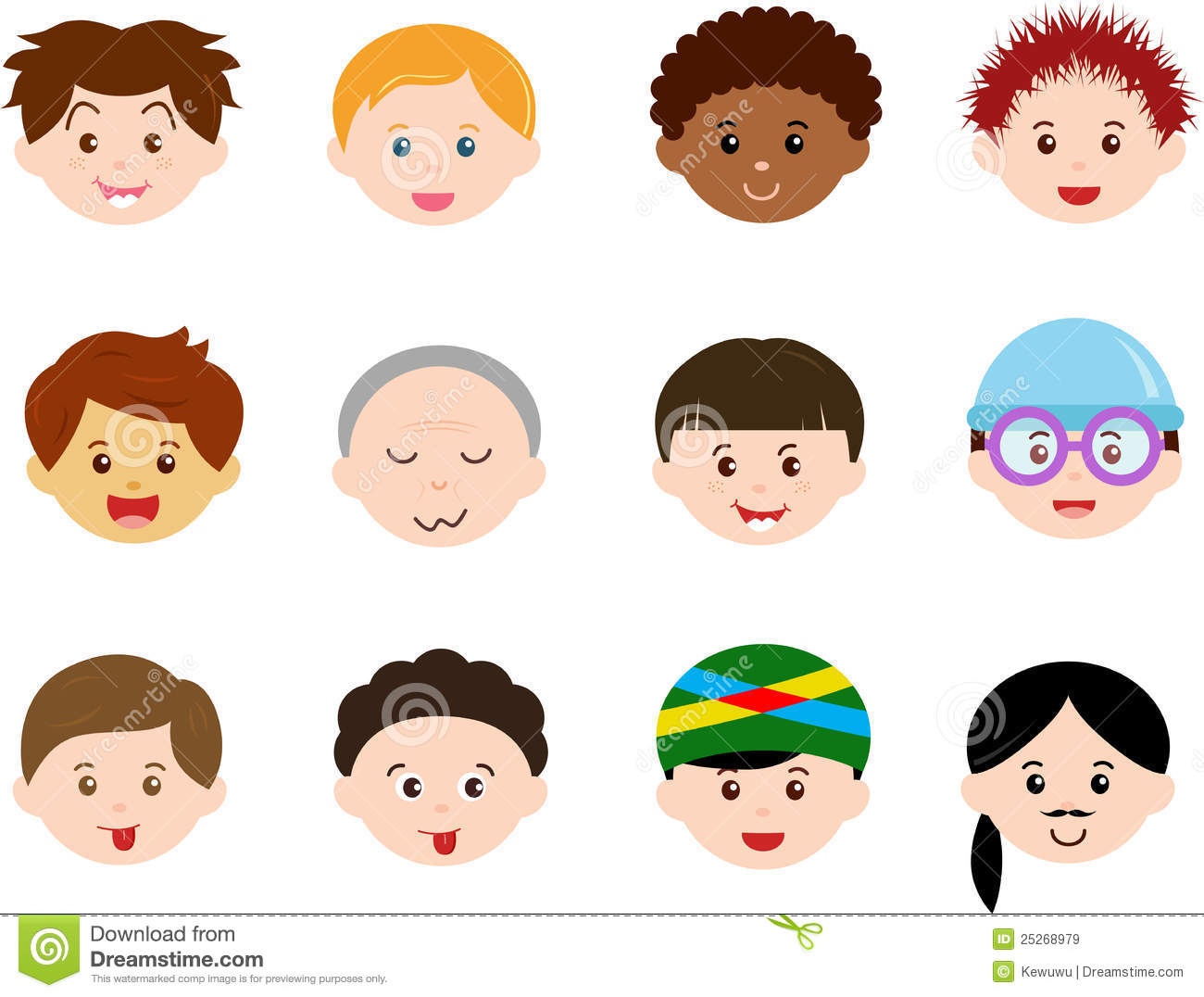 Cartoon Men Heads Vector Illustration Cartoondealer Com