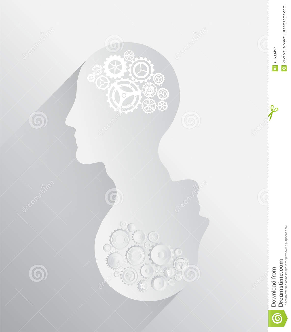 Heads with cogs and wheels for brains