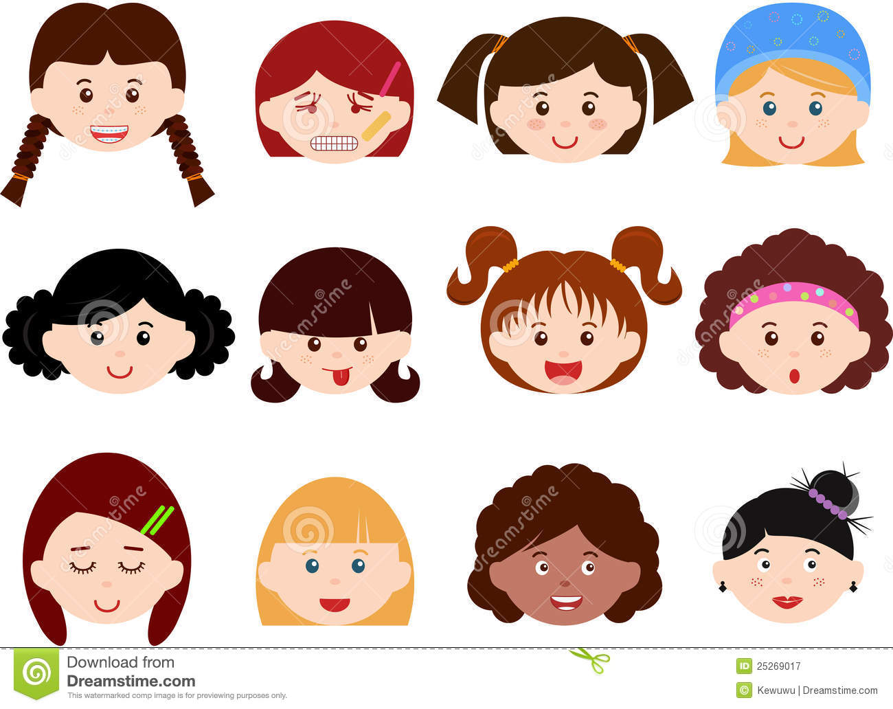Heads Of Girls Women Kids Female Set Different Royalty