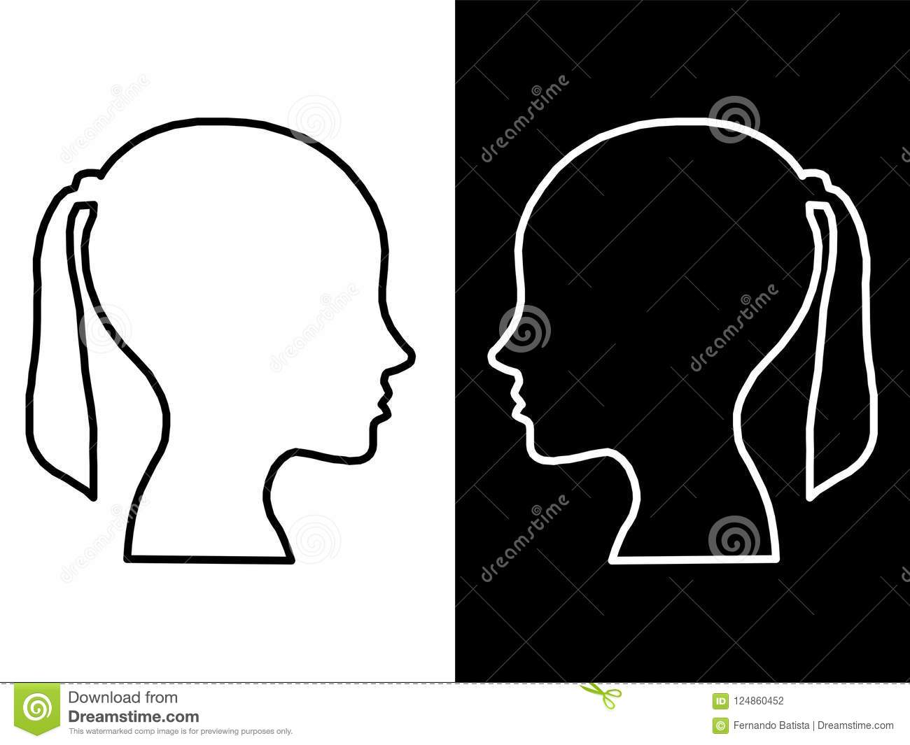 Heads of two people, woman and man, abstract brain for concept idea