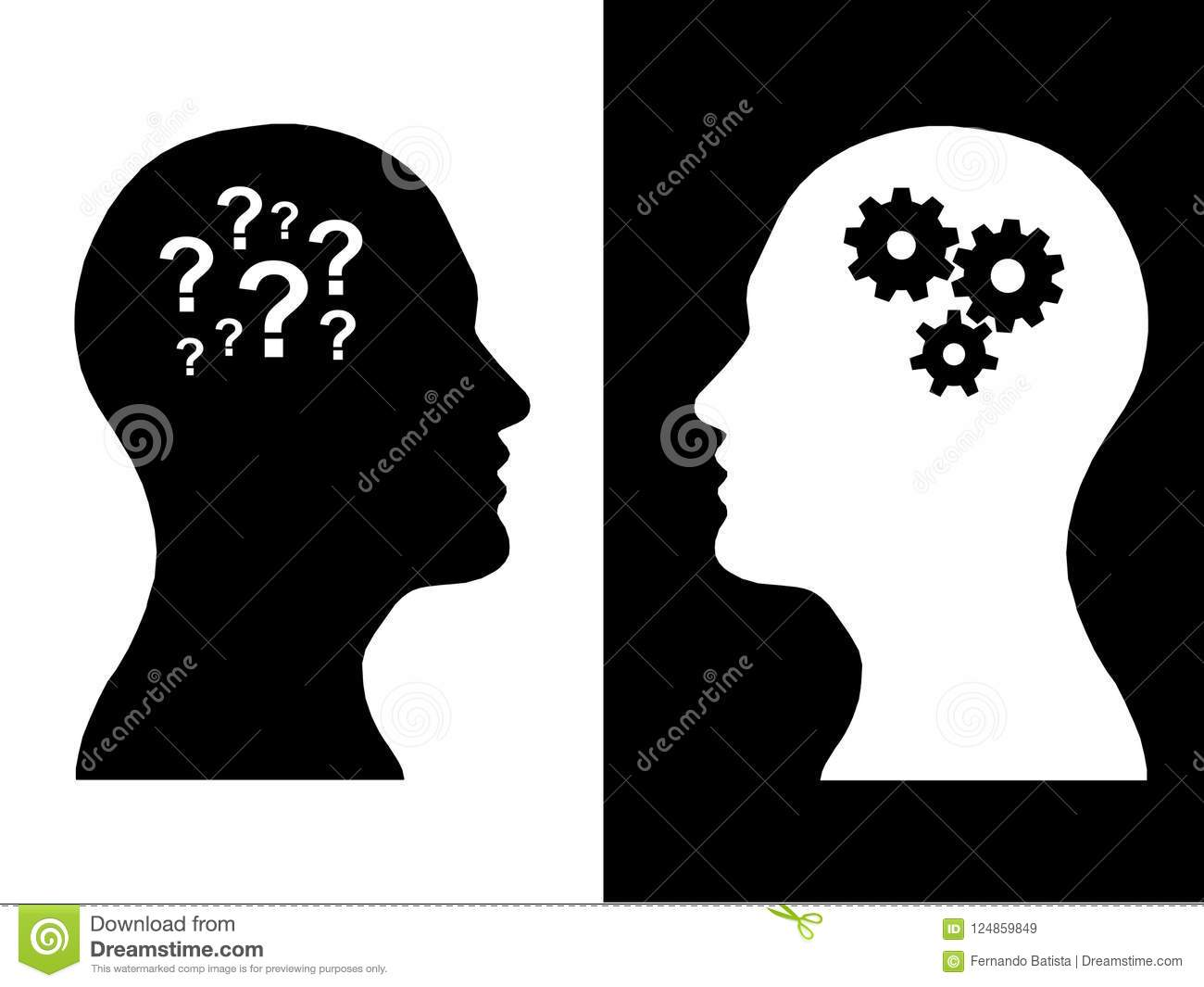 Heads of two people, brainstorming concept gear question