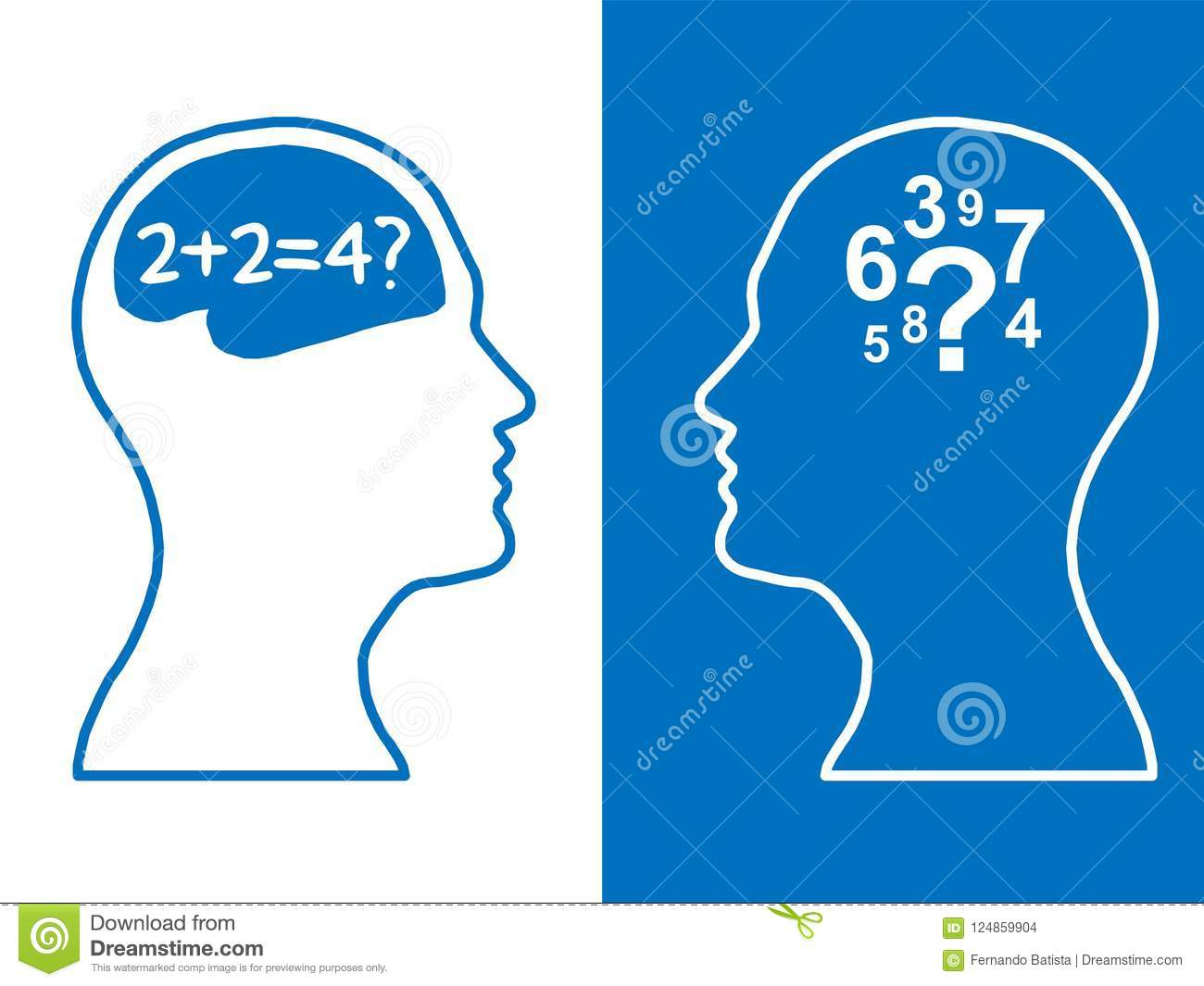 Heads of two people, brainstorming concept math question,