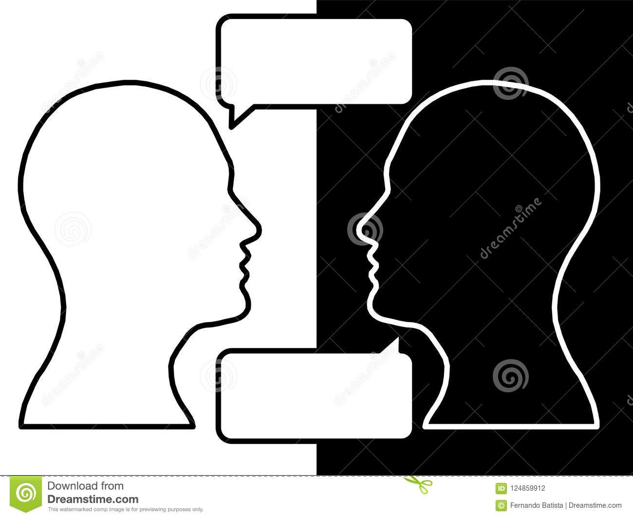 Heads of two people, brainstorming concept for question,