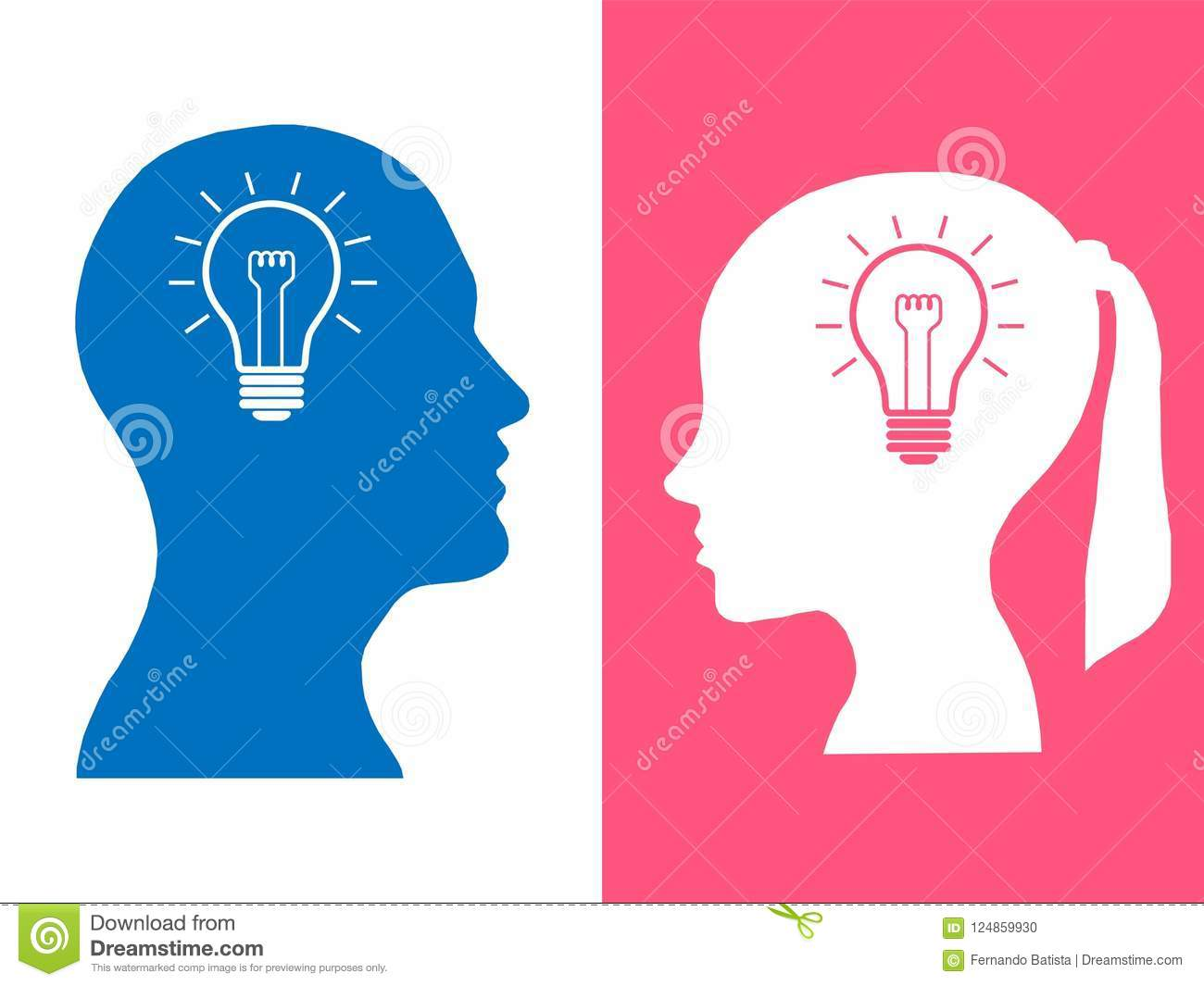 Heads of two people, woman and man, brainstorming concept gear question
