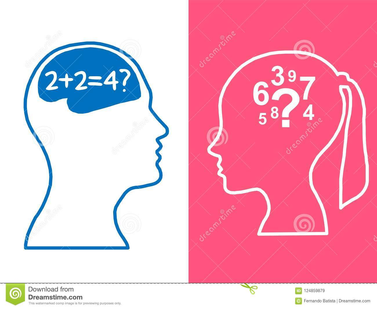 Heads of two people, woman and man, brainstorming concept math question,