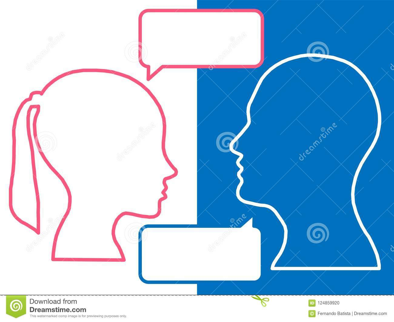 Heads of two people, woman and man, brainstorming concept for question,