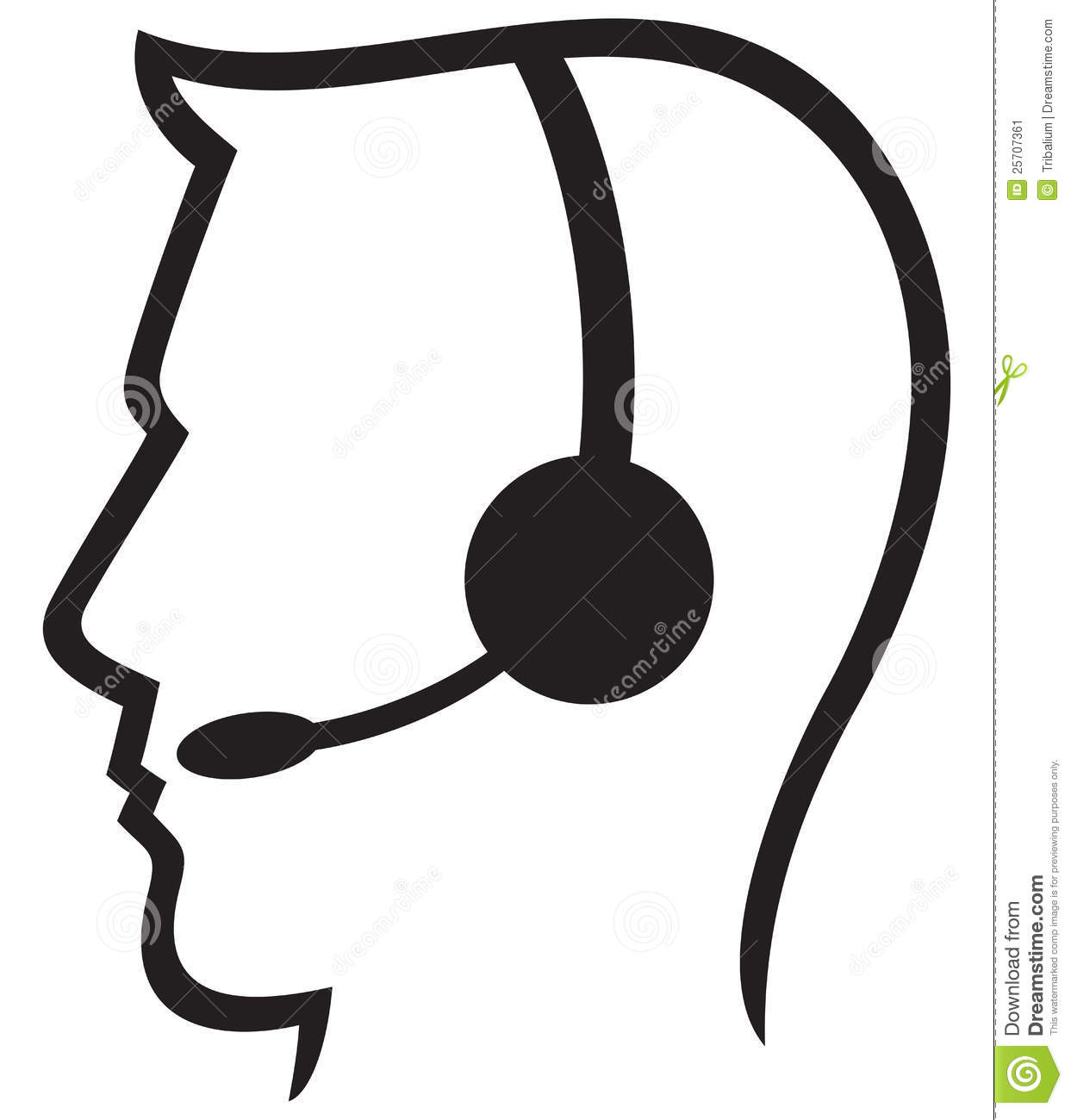 Man headset, call center icon, face with headset, support phone ...