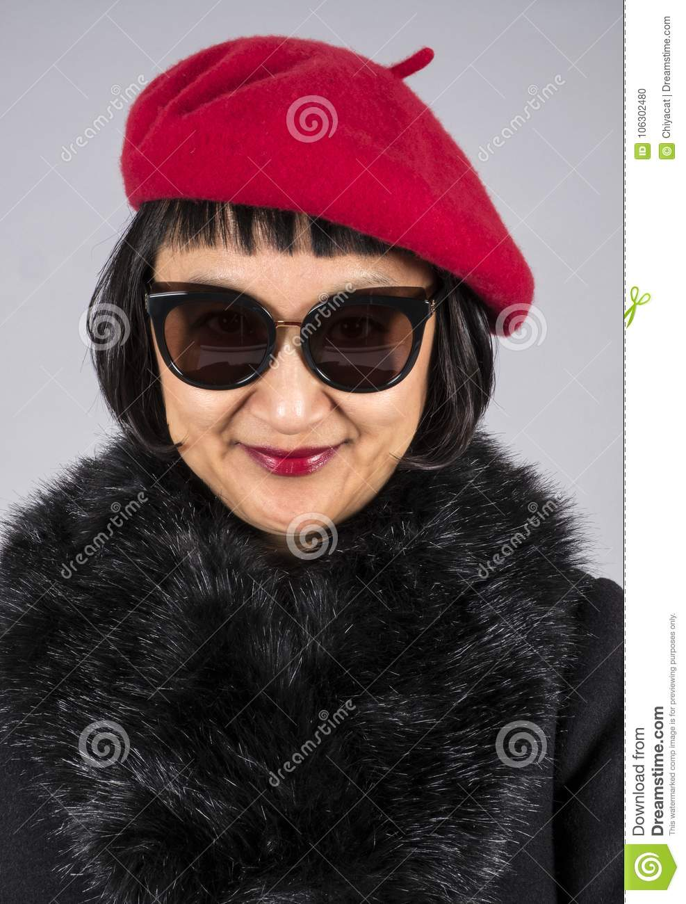 3bade15f08cfb Headshot Of An Asian Woman With Short Hair Wearing A Red Beret Stock ...