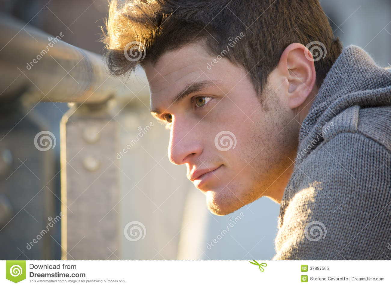 Headshot Of Attractive Young Man At Sunset Stock Image