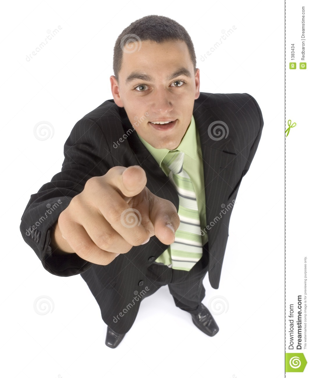 Headshot of businessman pointing by finger