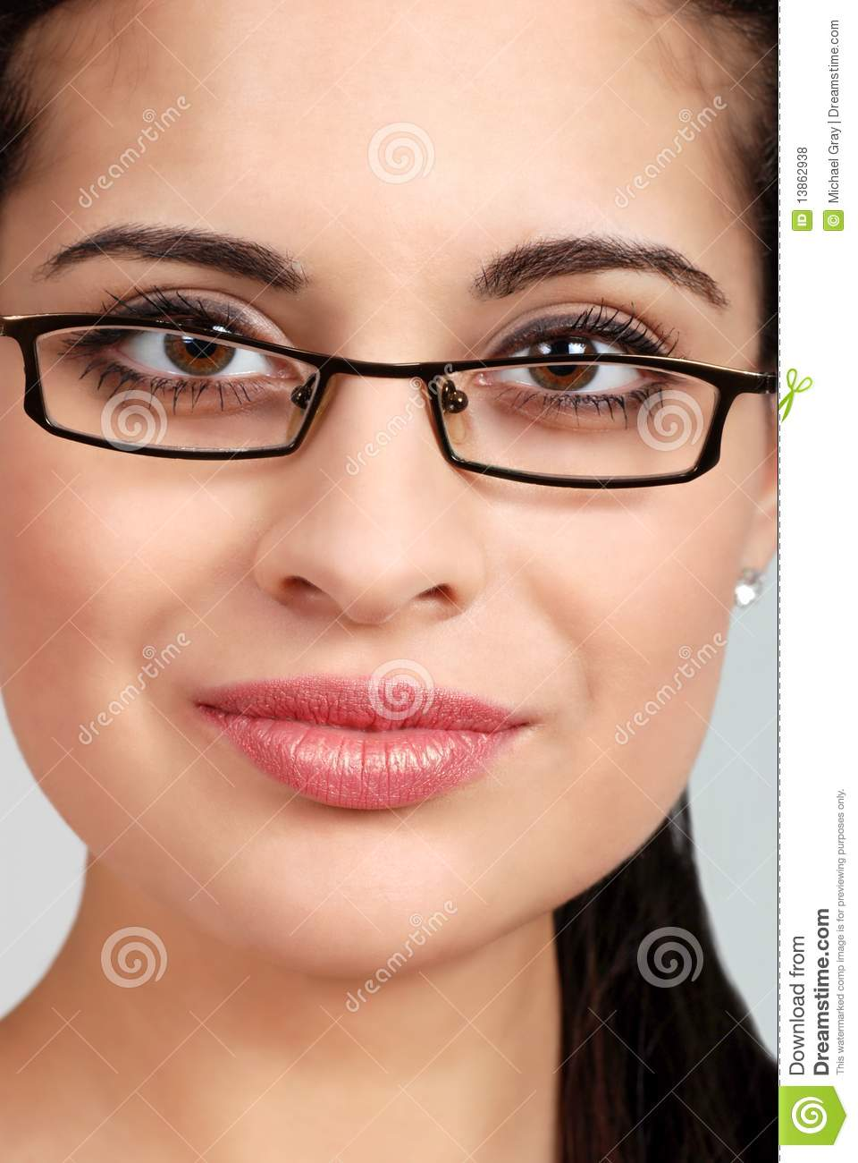 Headshot Spanish Woman Wearing Glasses Royalty Free Stock -3264