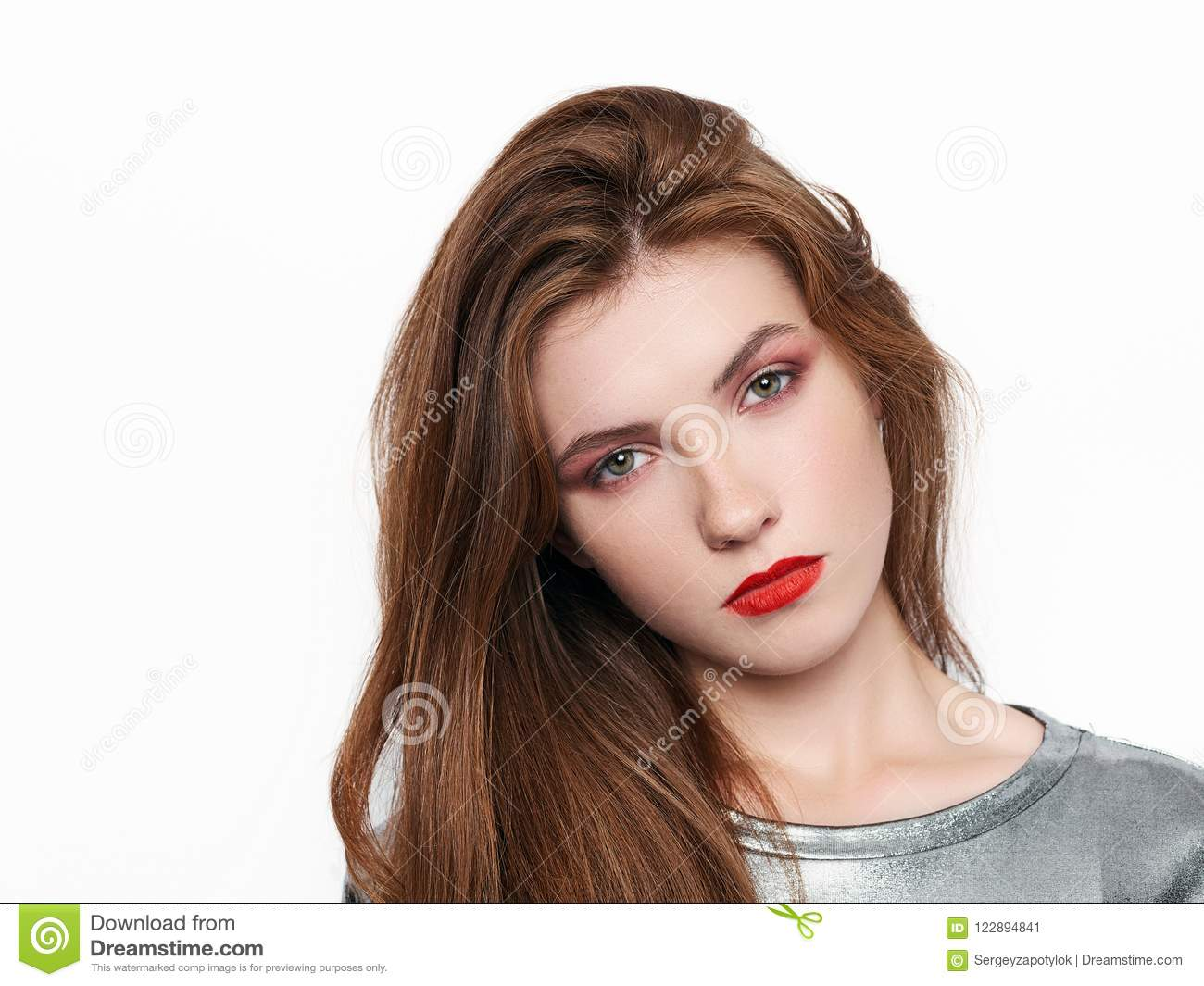 headshot of young beautiful excited woman with gorgeous
