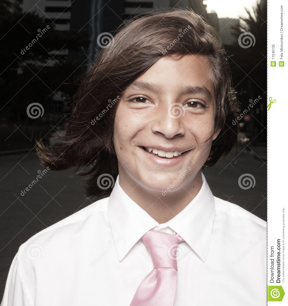 Young Happy Boy With Brown Wet Hair Is Smiling And: Headshot Of A Young Businessman Stock Image