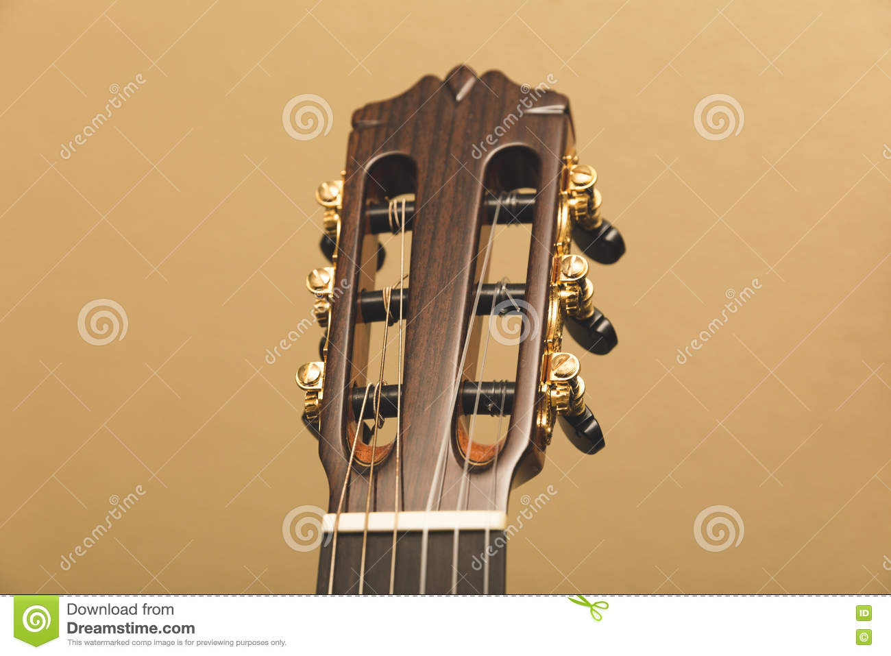 headstock of a classical guitar top front view stock image image