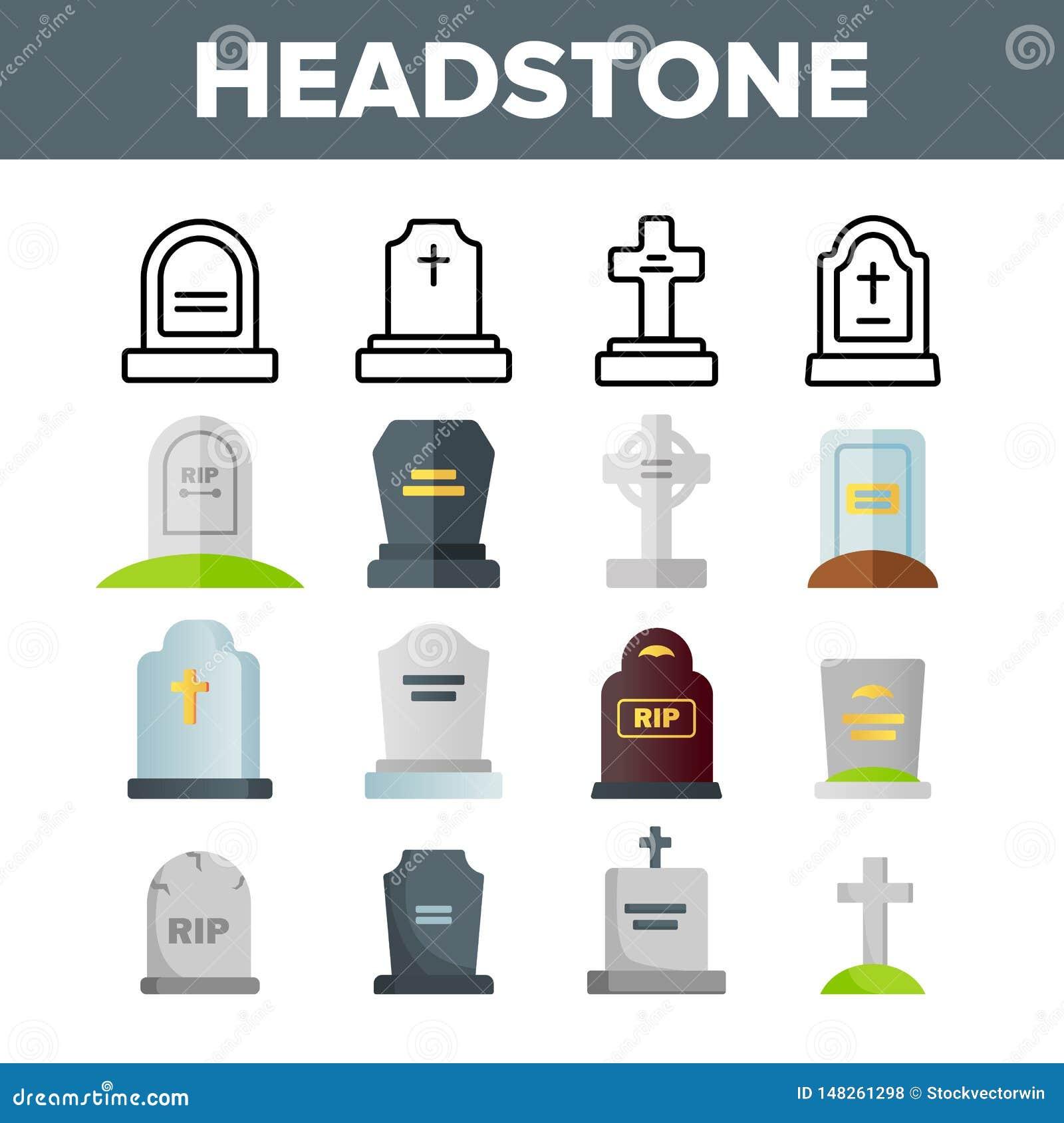 Headstone, Gravestone, Tombstone Vector Color Icons Set