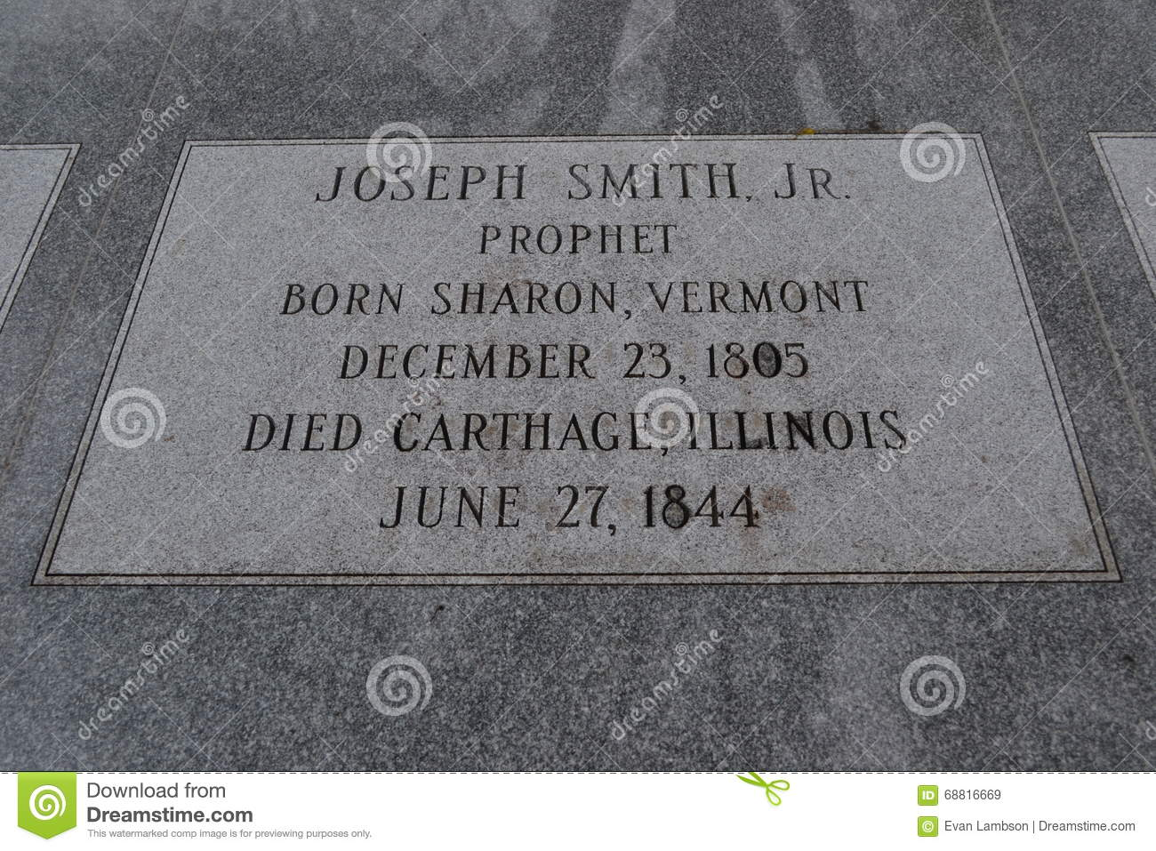 Headstone of Joseph Smith jr. Hyrum Smith and Emma Smith
