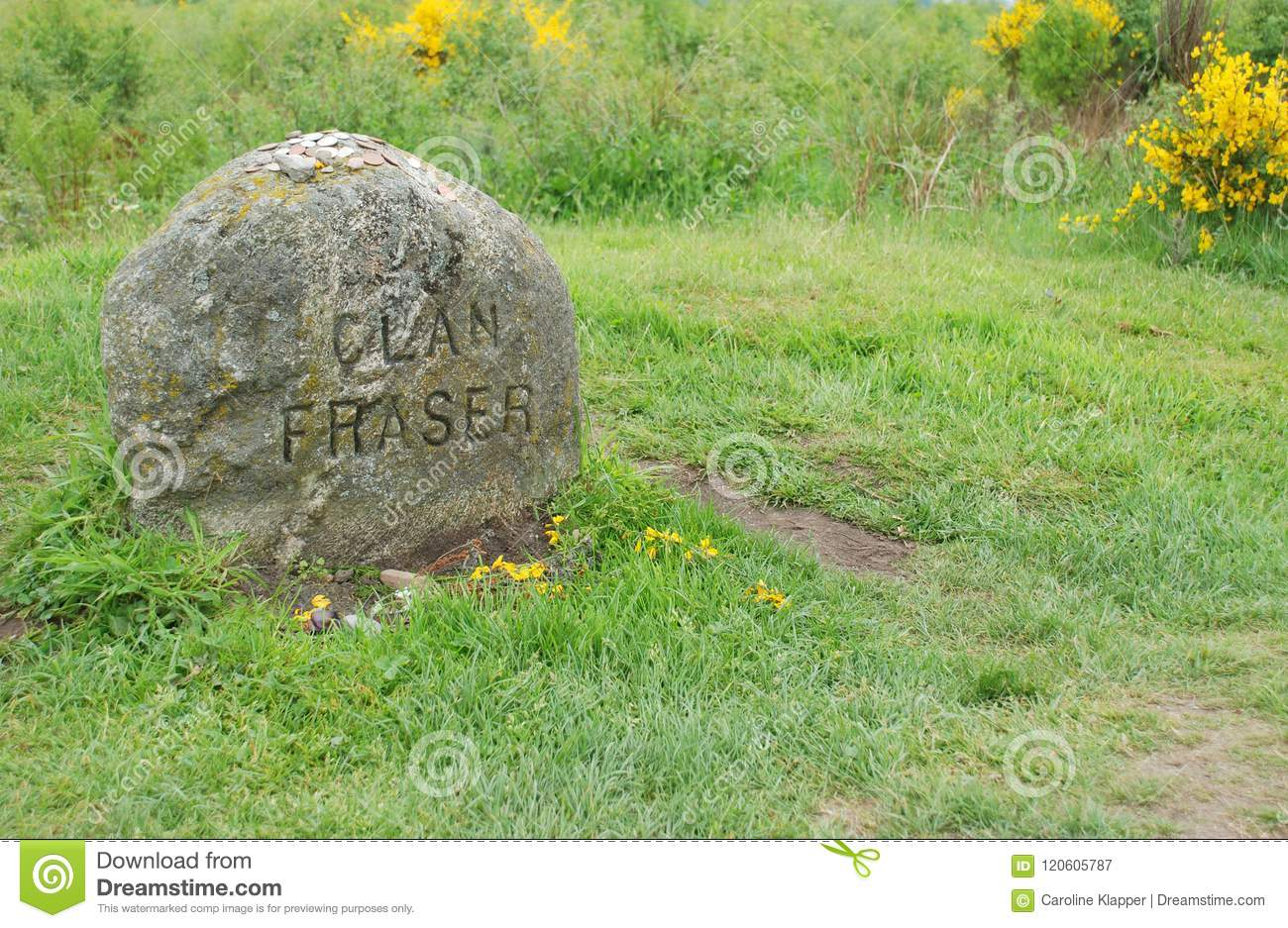 Clan Fraser Grave Marker At Culloden Stock Image - Image of