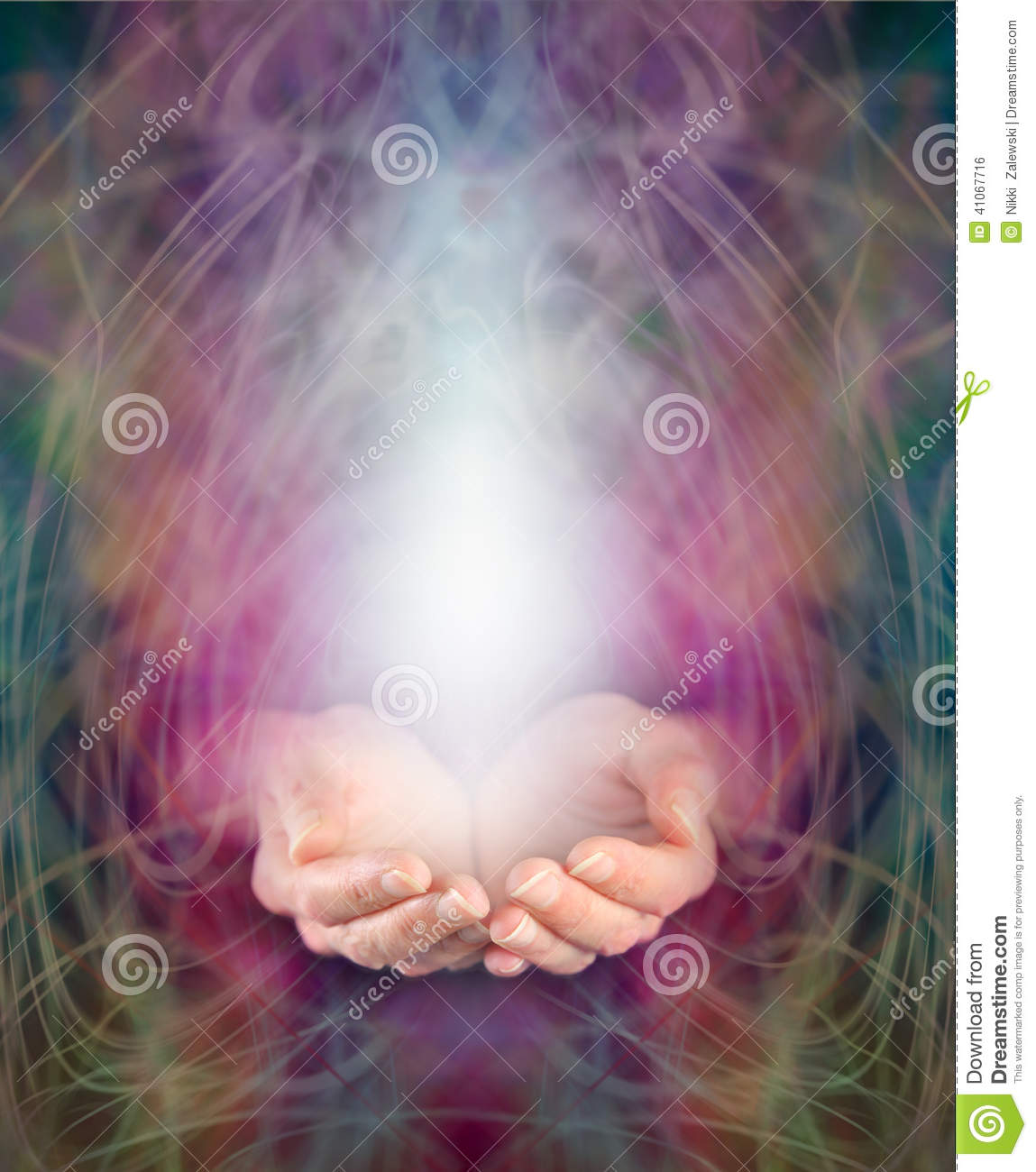Healer S Cupped Hands And Energy Manifestation Stock Photo