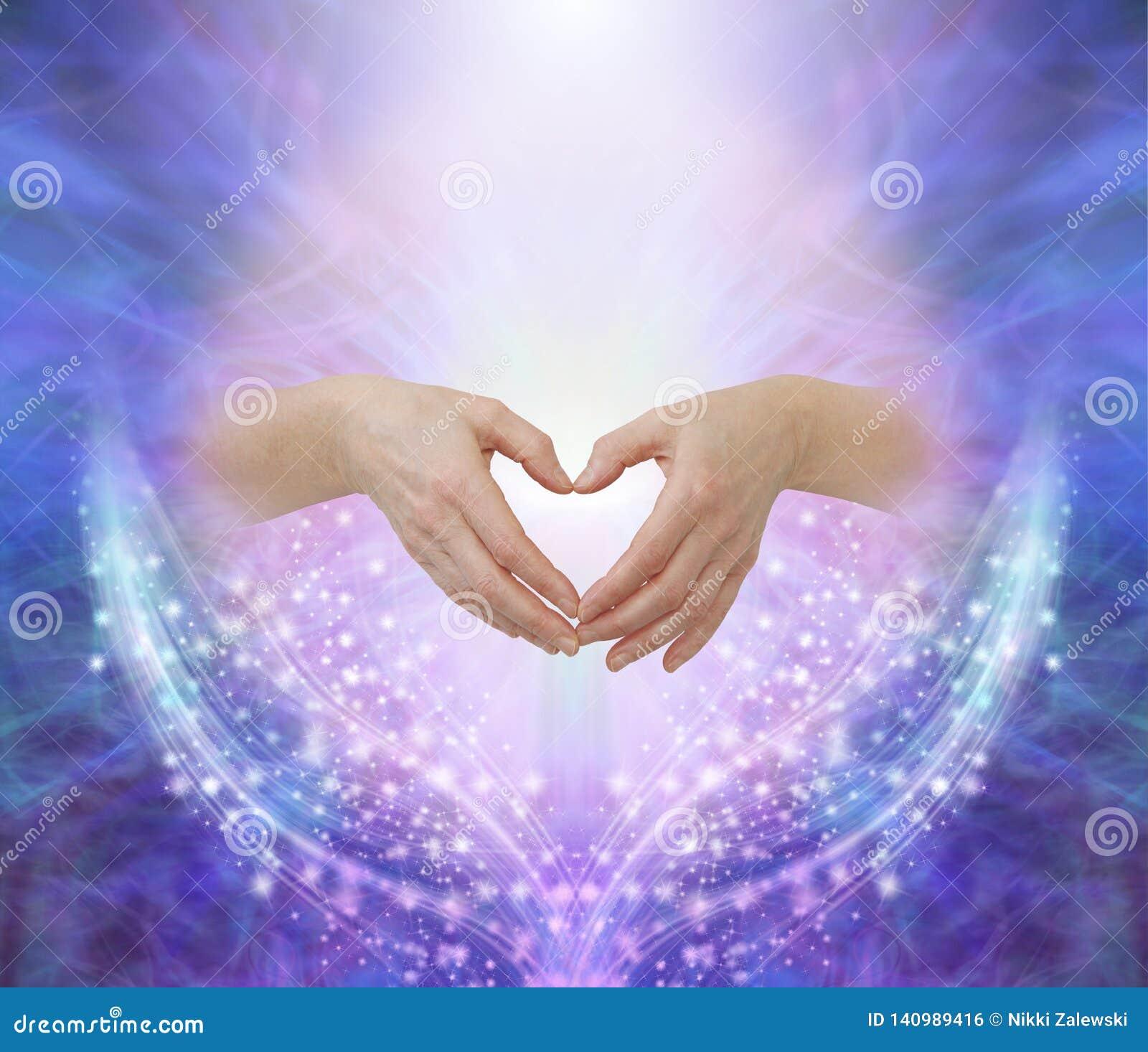 Healers hands making a humble heart shape