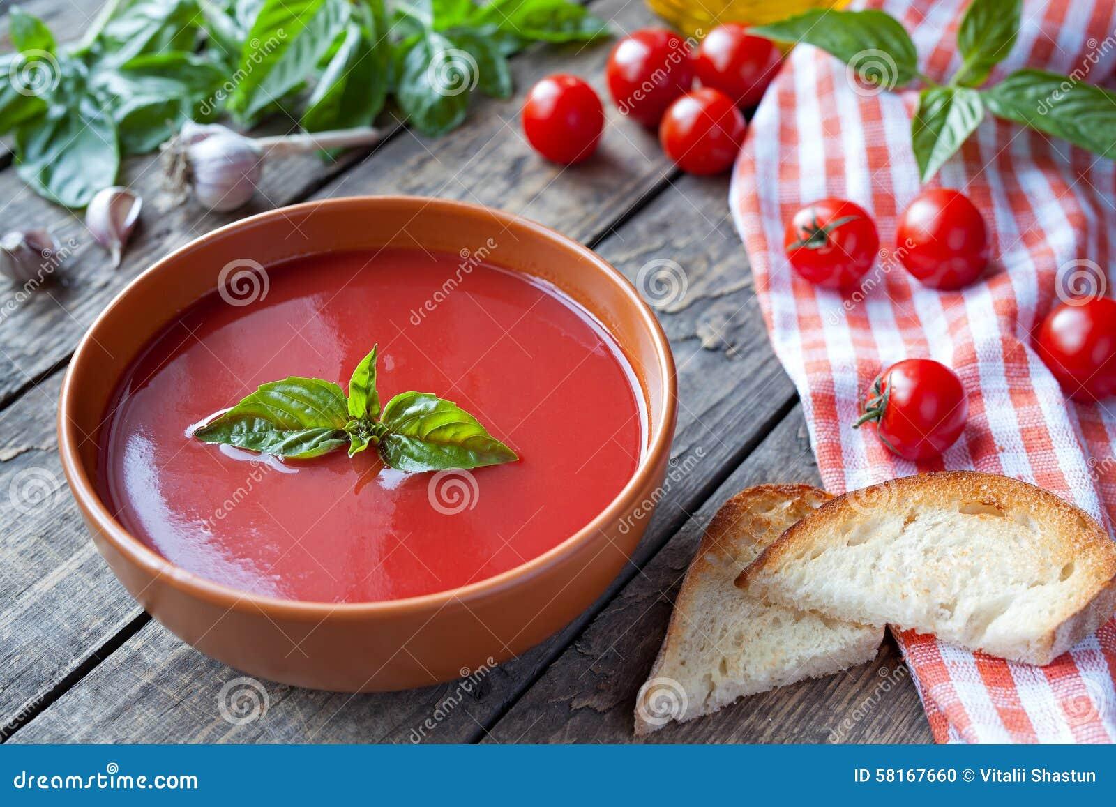 Healhy Vegetarian Traditional Italian Tomato Soup Stock Photo - Image ...