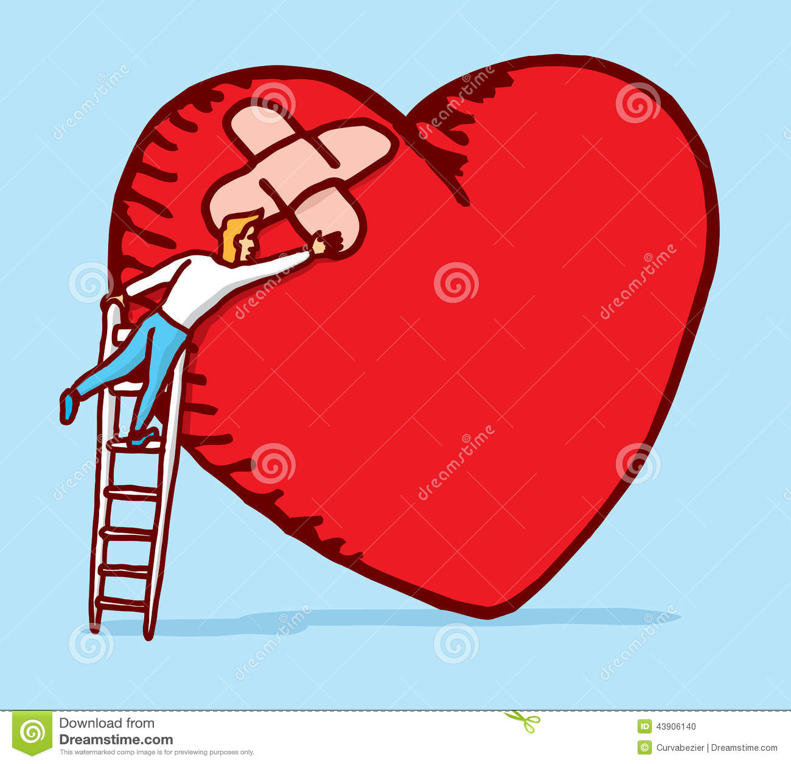 healing and caring a broken heart stock vector image