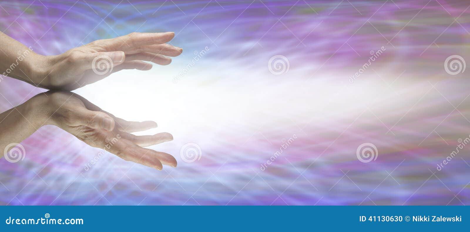 Healing Hands On Matrix Website Banner Stock Illustration