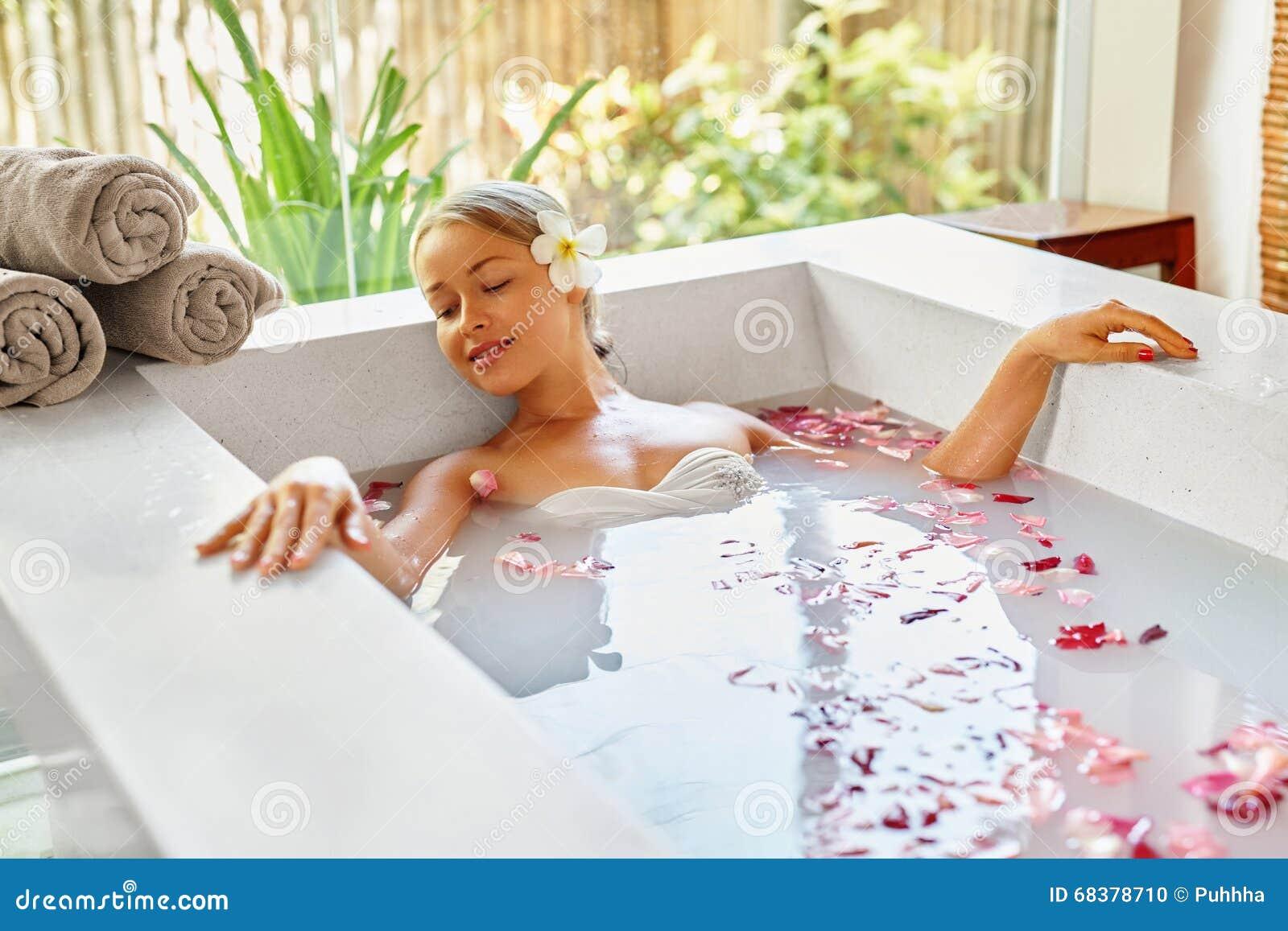Health, Beauty. Woman Spa Body Care. Relaxing Flower Rose Bath Stock ...