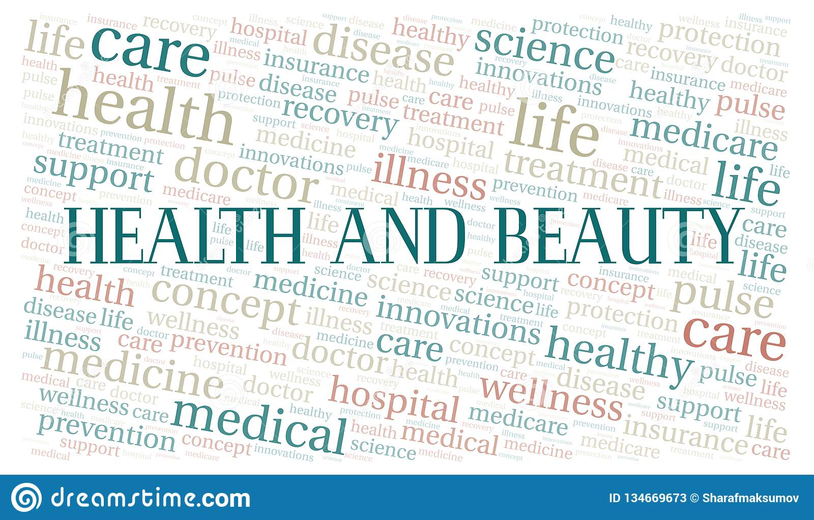 Health And Beauty Word Cloud Stock Illustration