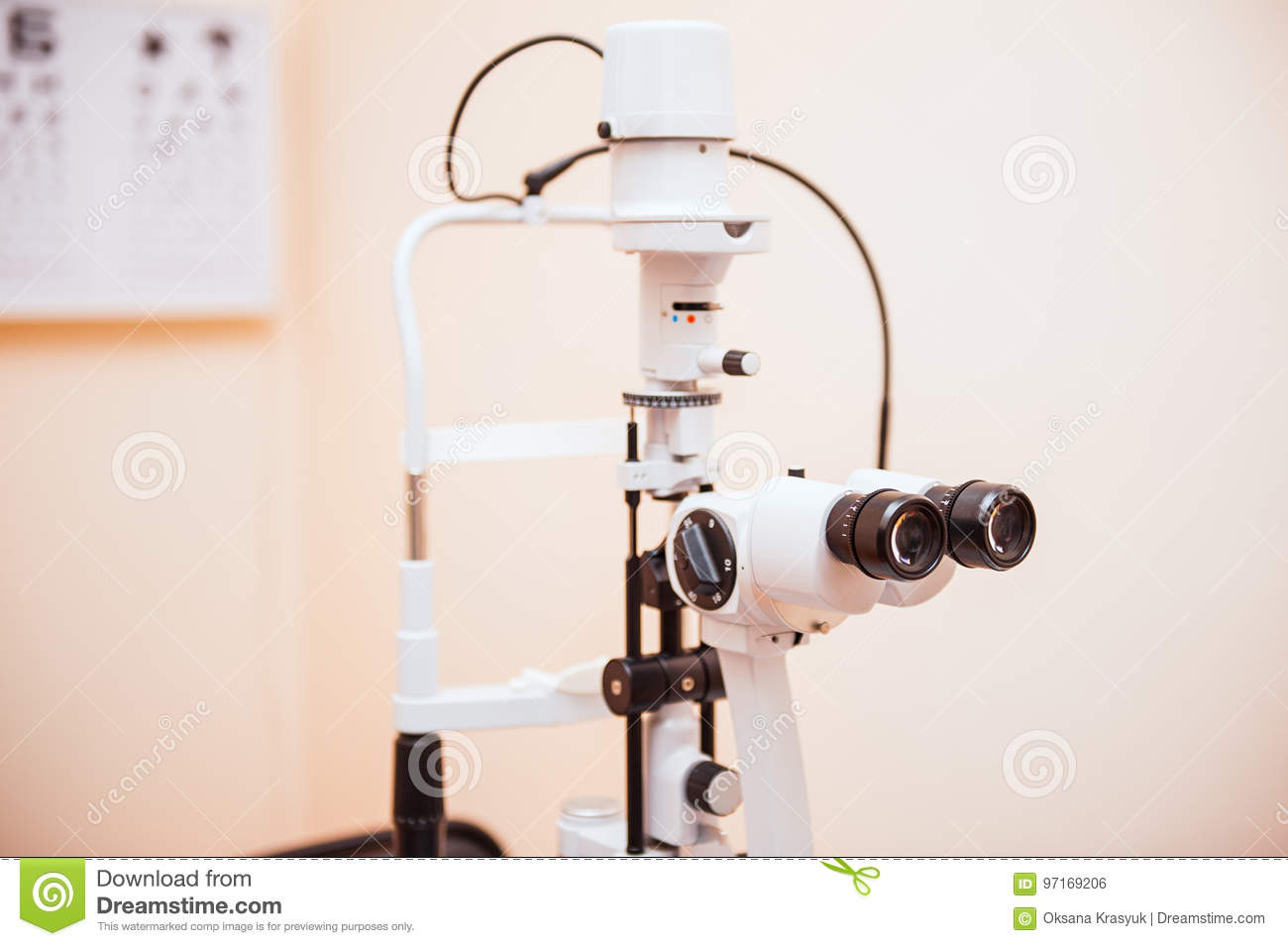 Health Care Concept - Close Up Slit Lamp, Biomicroscope  Ophthalmic