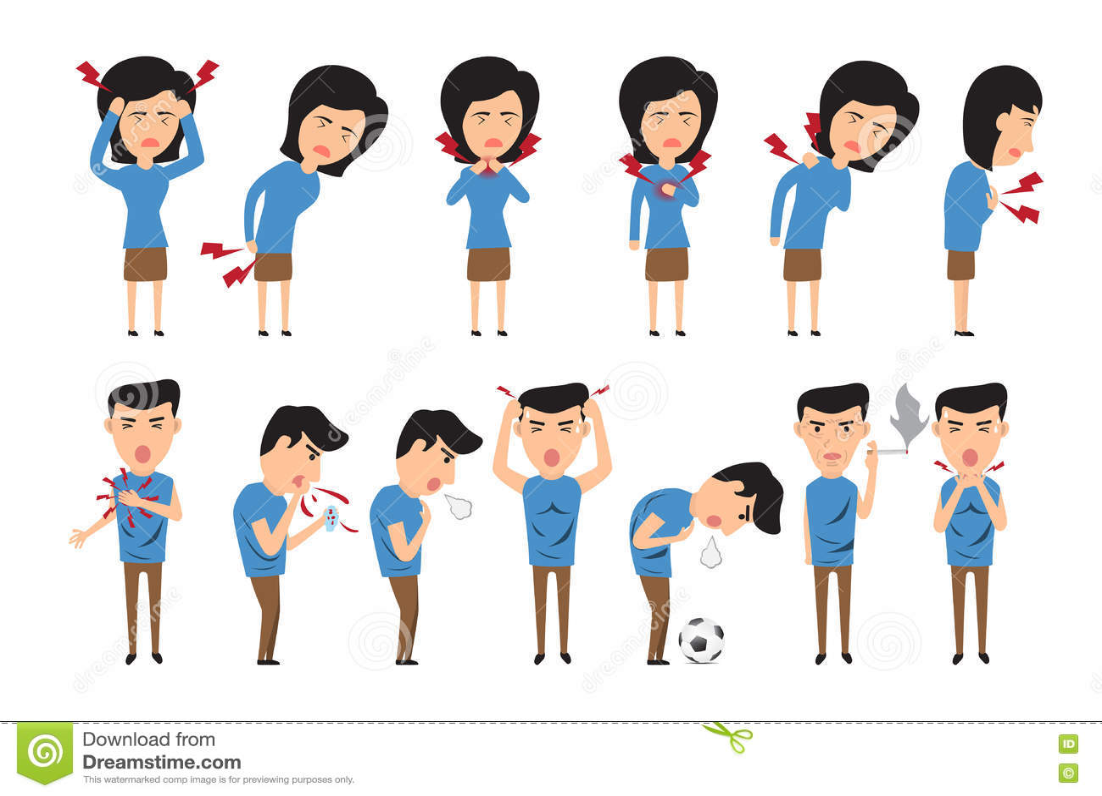 care concept headache health illustration man pain sick symptoms ...