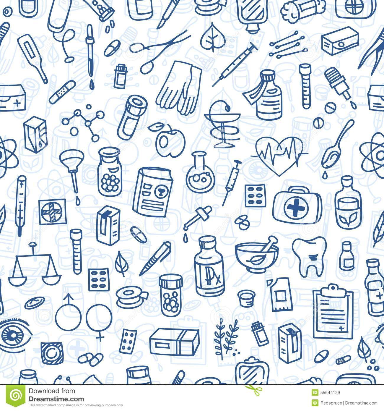 Cool Background For Health: Health Care Doodle Icons Background Stock Vector
