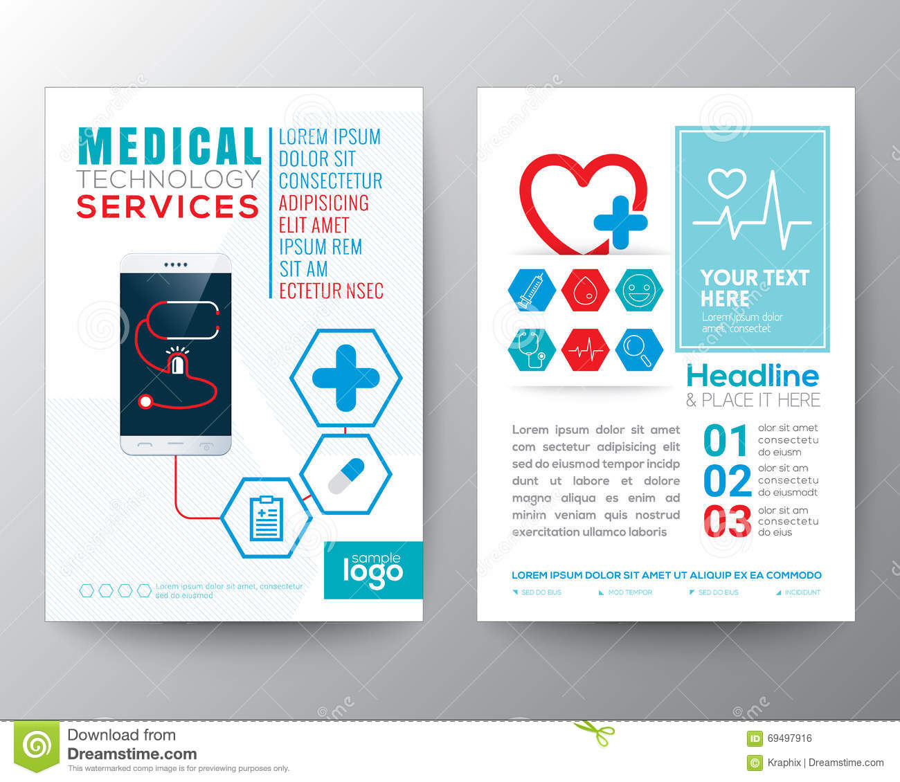 health care and medical poster brochure flyer design layout stock