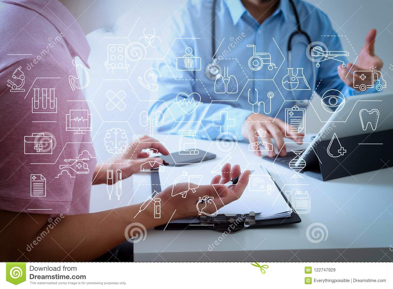 Medical Doctor Using Mobile Phone And Consulting Businessman