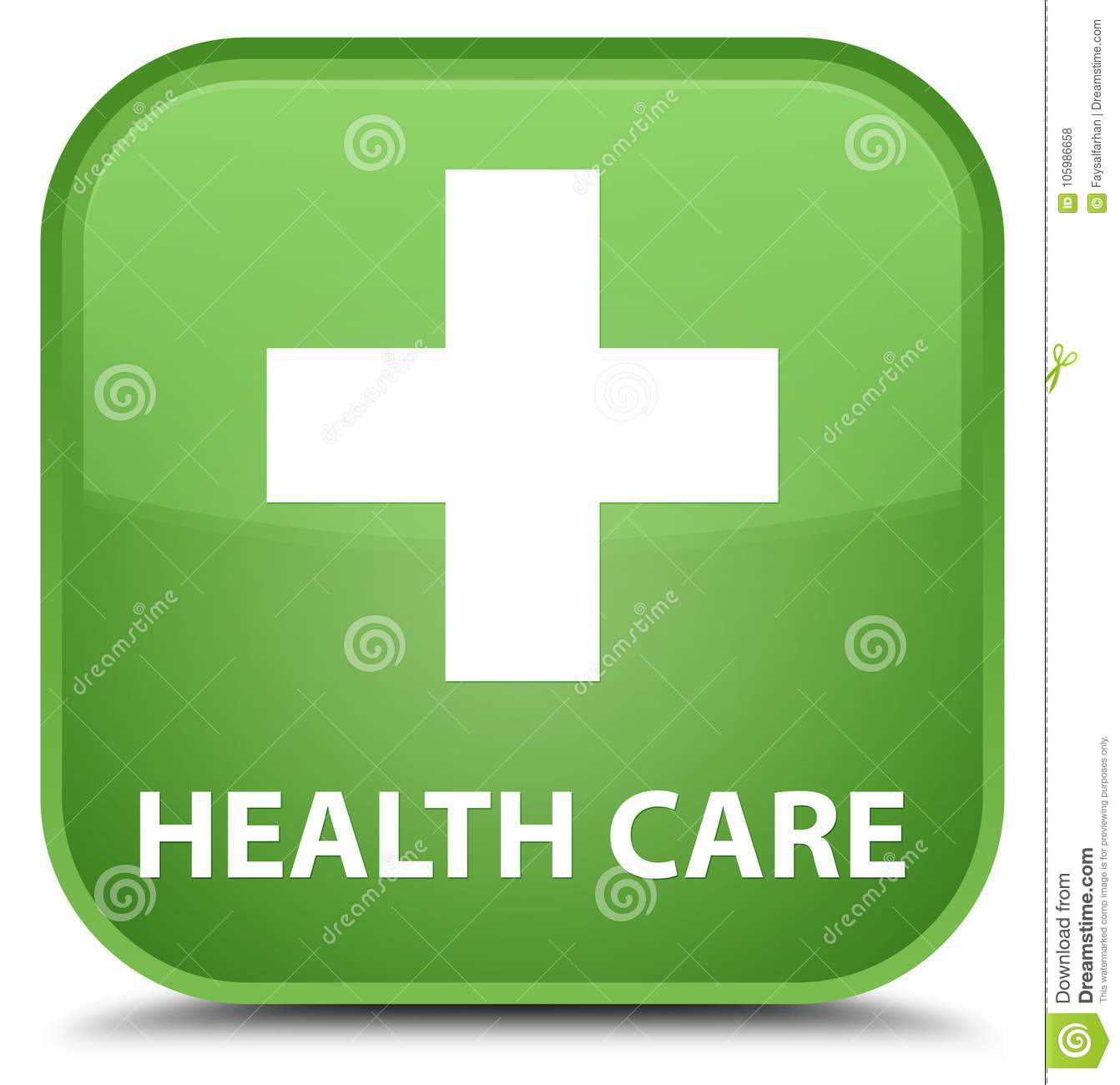 Health Care Plus Sign Special Soft Green Square Button Stock
