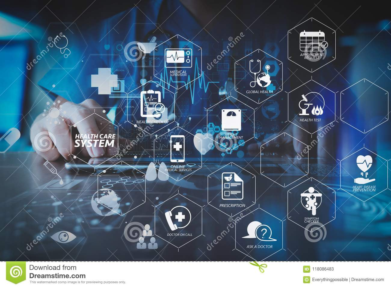 health care system diagram with health check and symptom on vr  dashboard medical techonlogy concept,smart doctor hand working with modern  laptop computer in