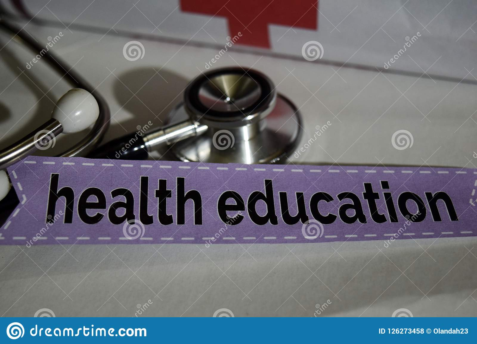 Health education message with stethoscope, health care concept.