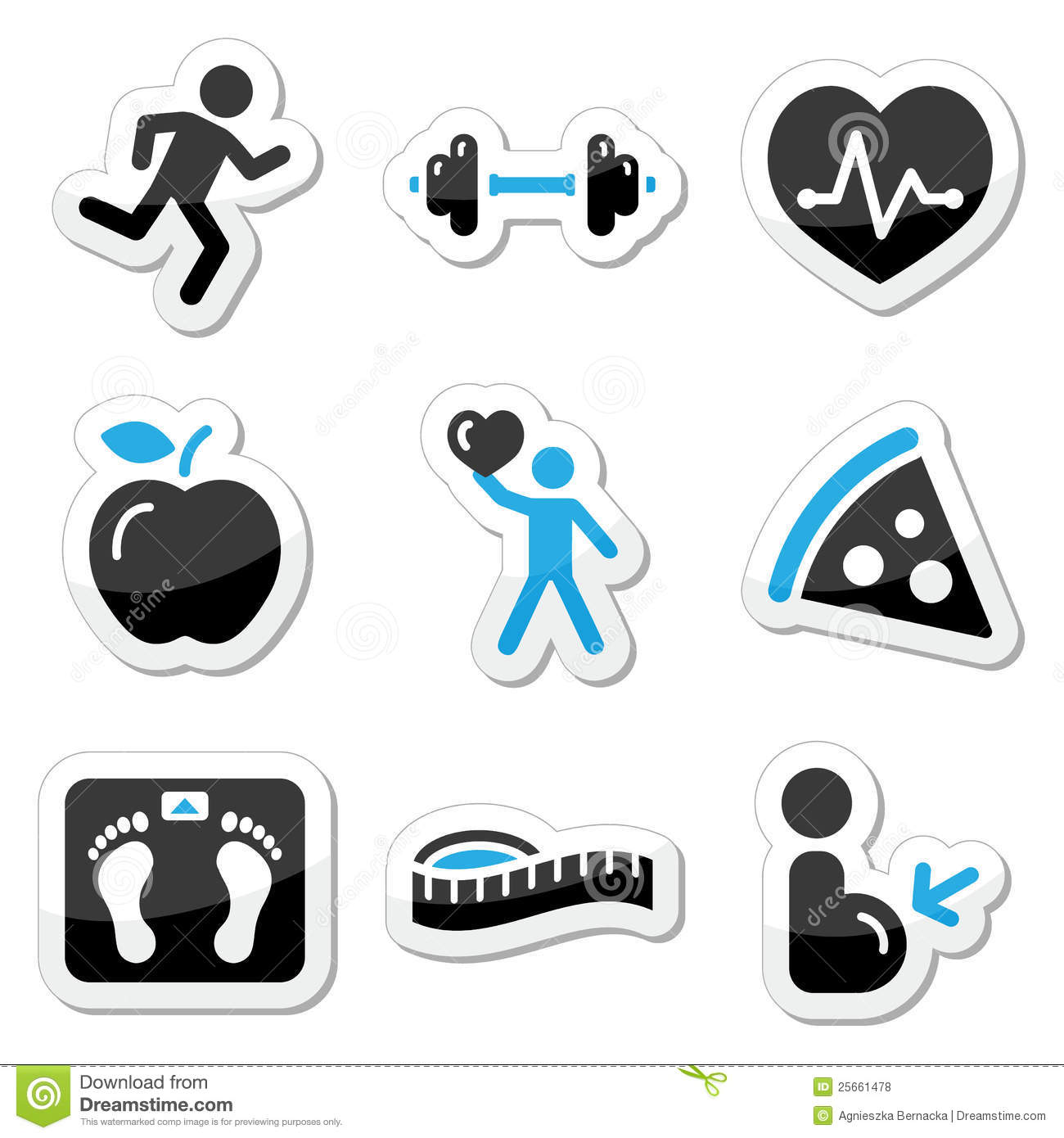 Health And Fitness: Health And Fitness Icons Set Stock Photo