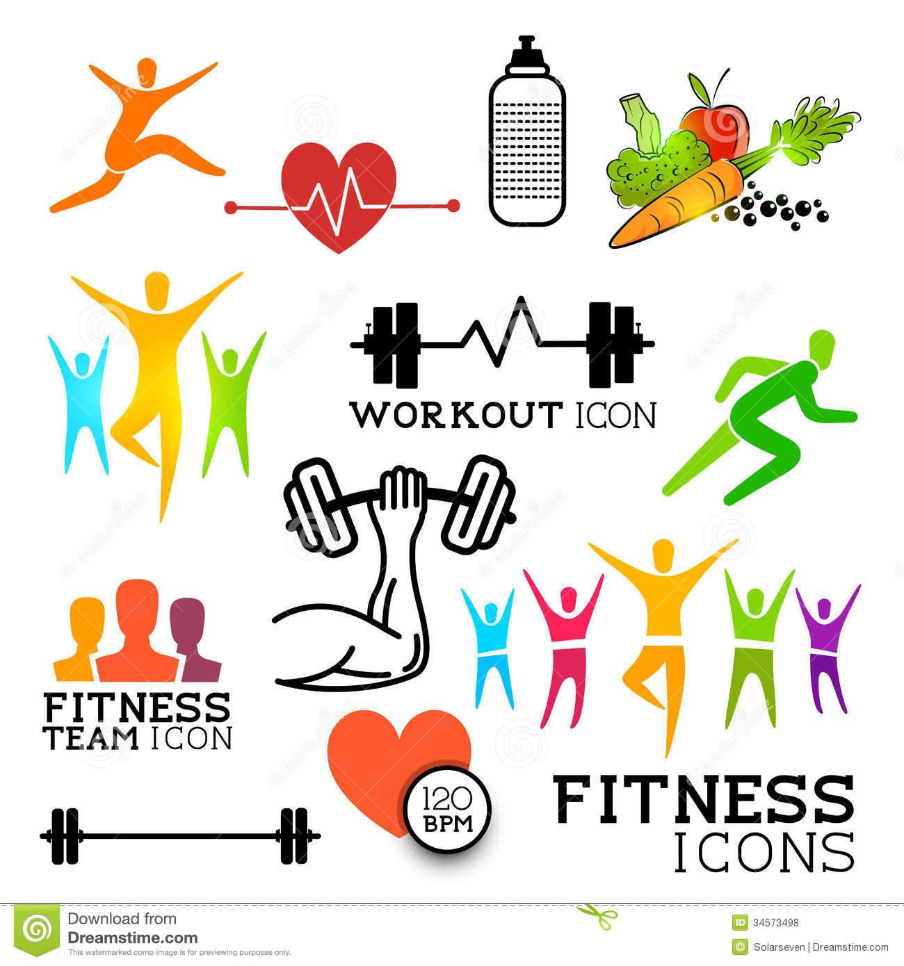 Health: Health & Fitness Icons Stock Vector. Illustration Of