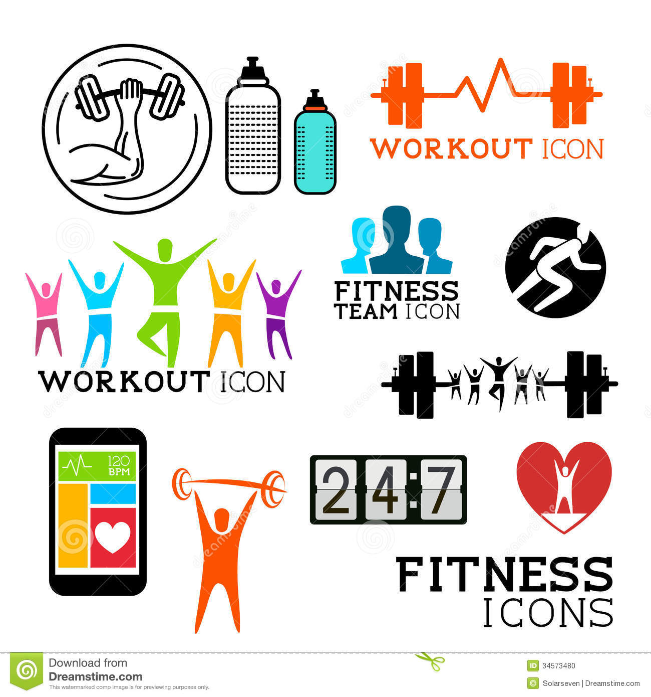 Health And Fitness Symbols Stock Vector Illustration Of Active