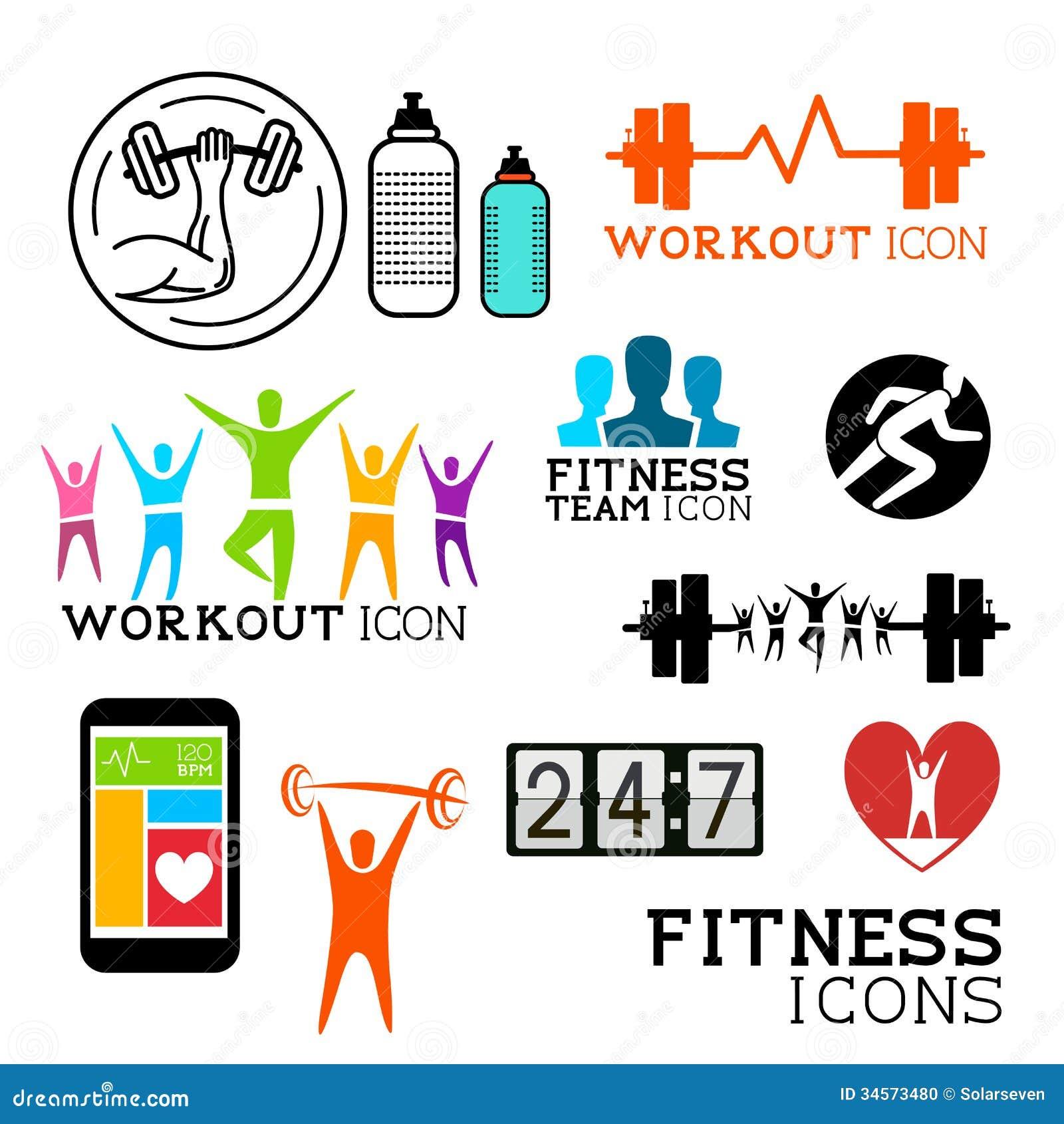 Mental Health Logo Set:  Health And Fitness Symbols Stock Photo