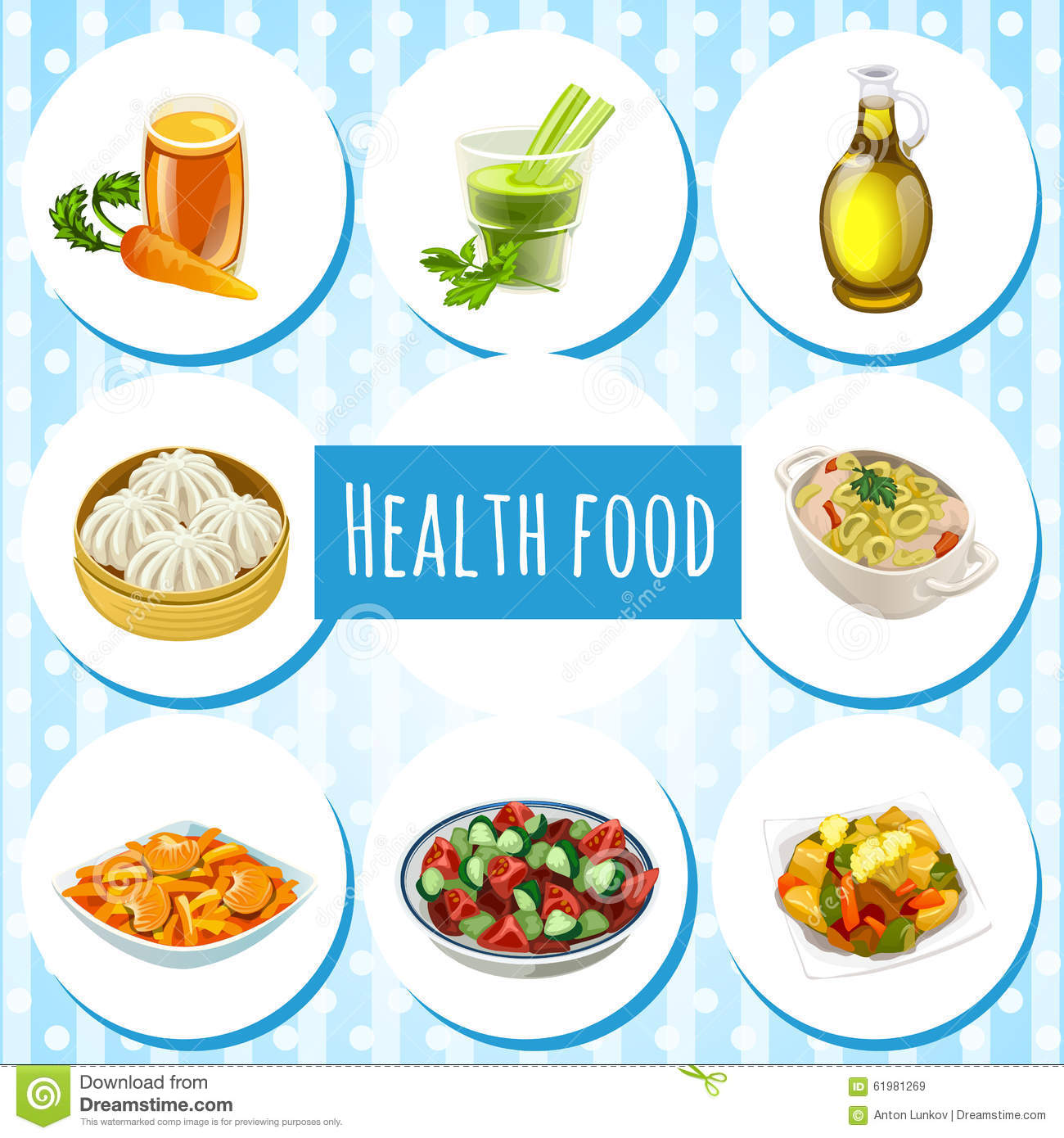 health food eight icons of dishes and drinks stock vector
